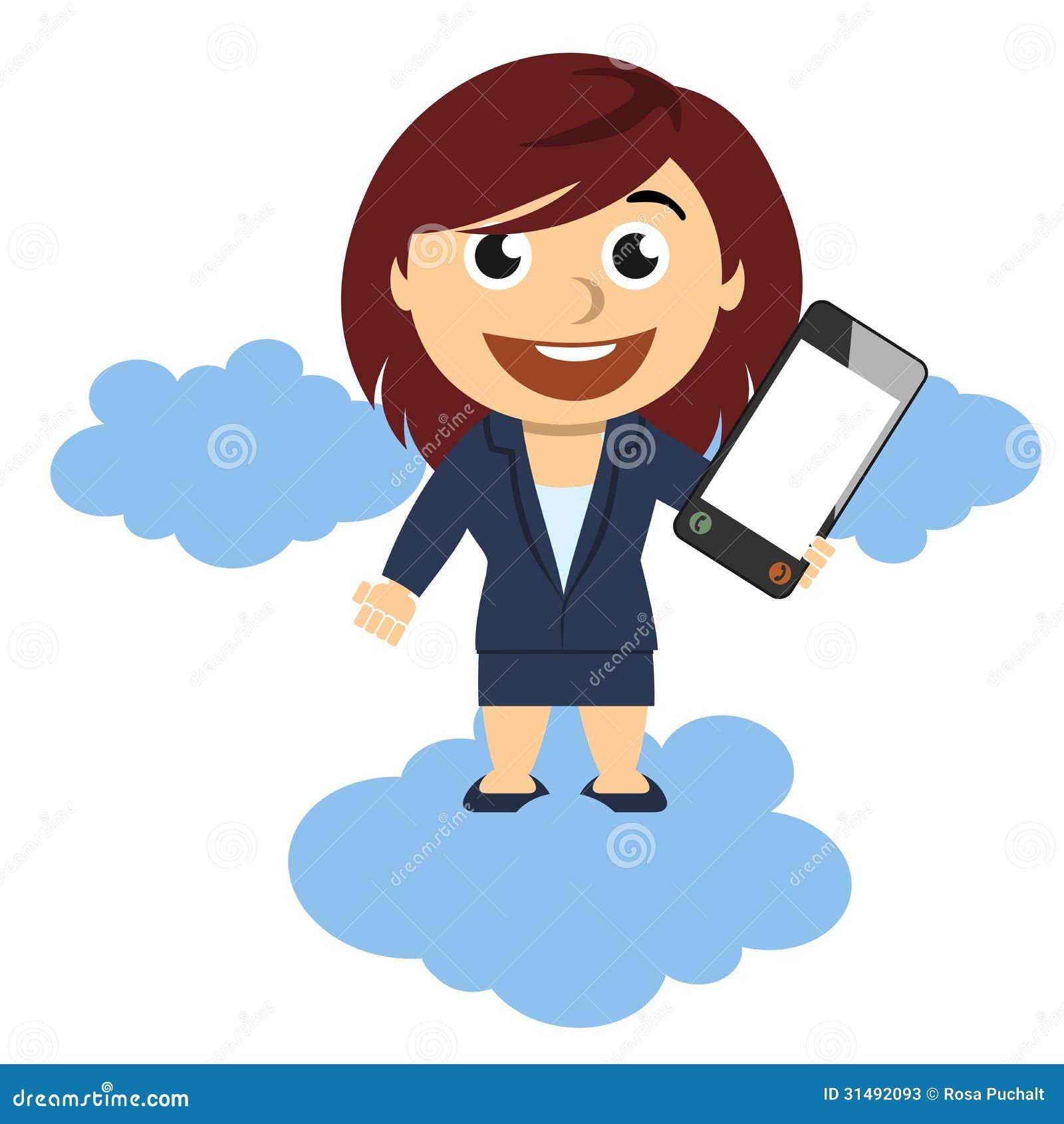 Mujer de negocios que muestra un teléfono móvil