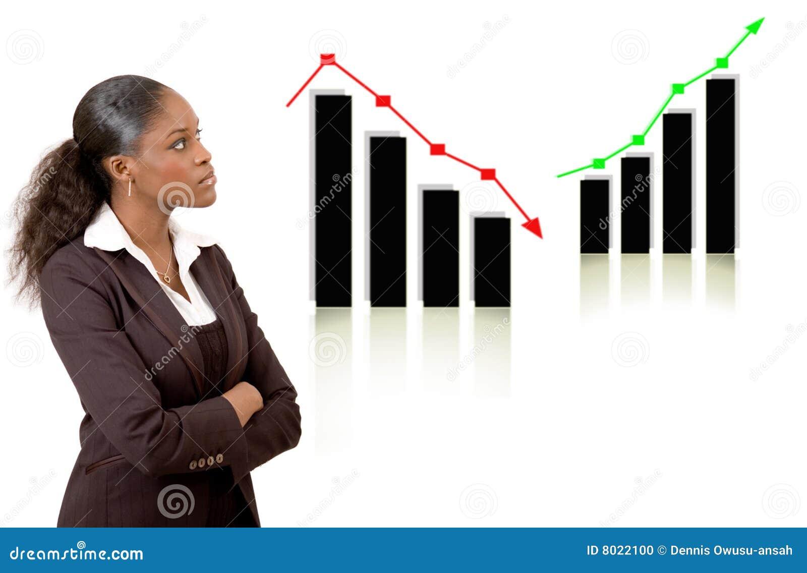 Mujer de negocios que piensa con los gráficos de la subida y de la caída