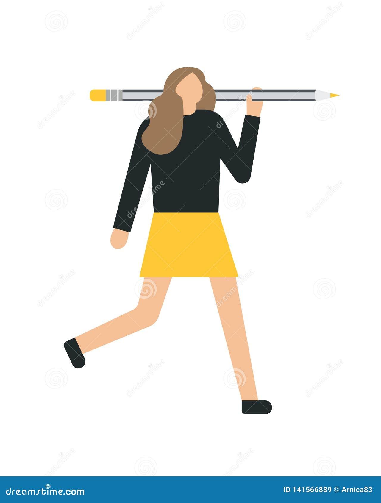 Mujer de negocios que se sostiene, el mostrar, dando un lápiz Estilo plano