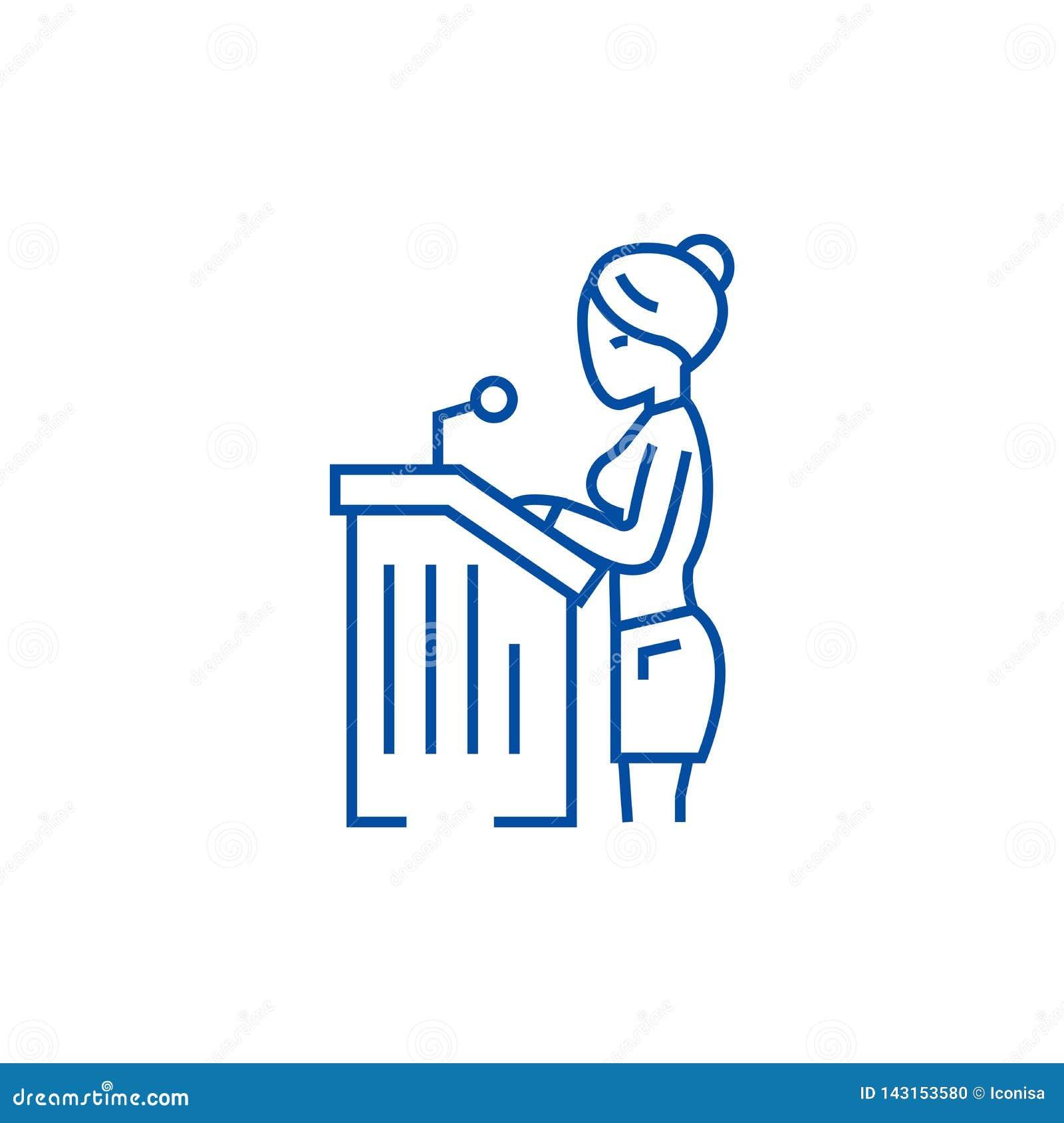 Mujer del abogado, línea concepto del discurso ante el tribunal del icono Mujer del abogado, símbolo plano del vector del discurs