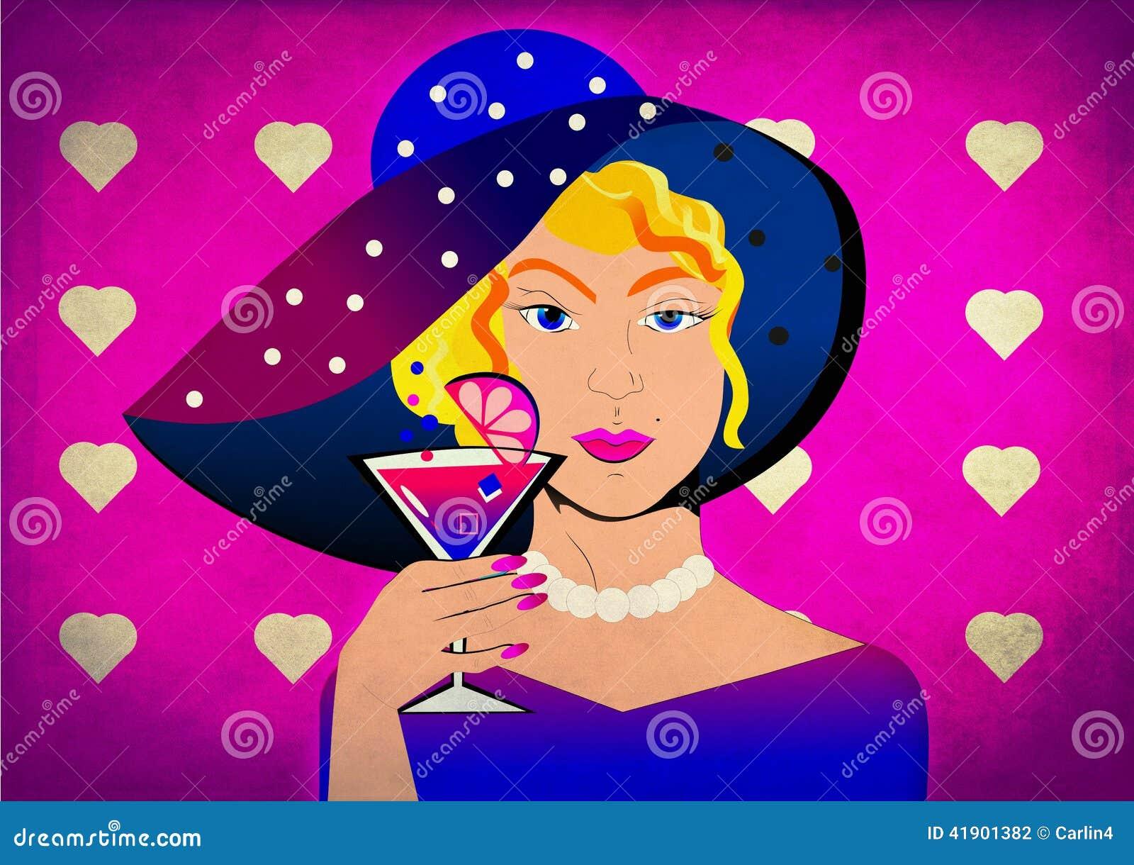 Mujer del arte pop con el sunhat punteado