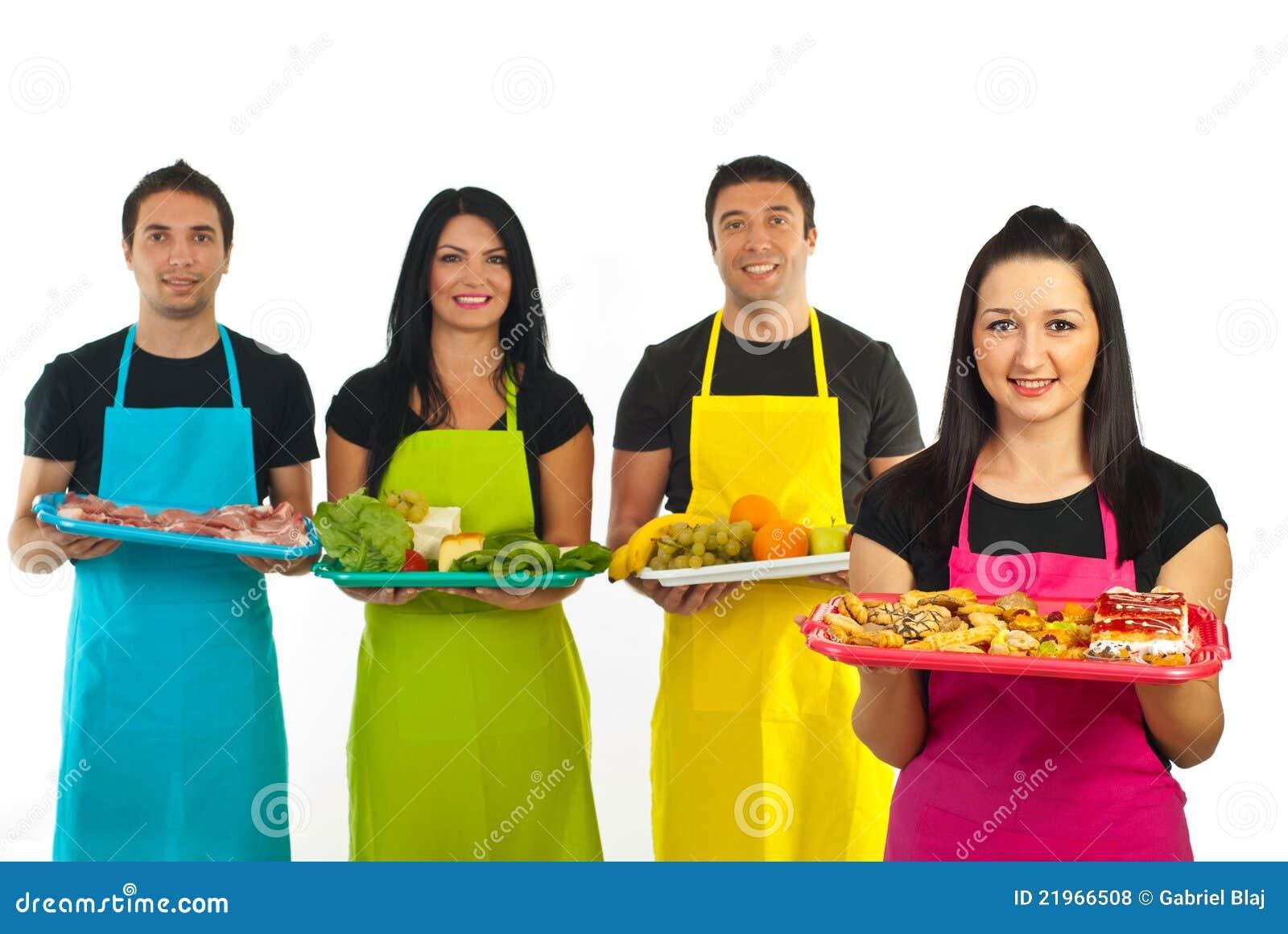 Mujer del confitero y personas de los trabajadores del mercado