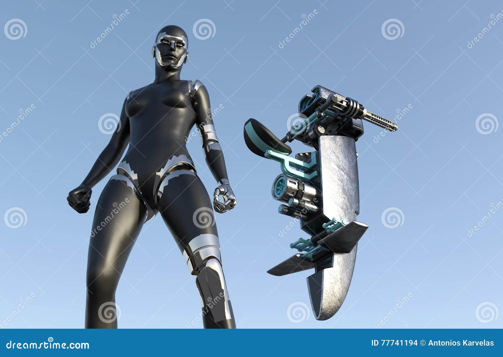 Mujer del Cyborg - Humanoid con el vehículo de la ciencia ficción