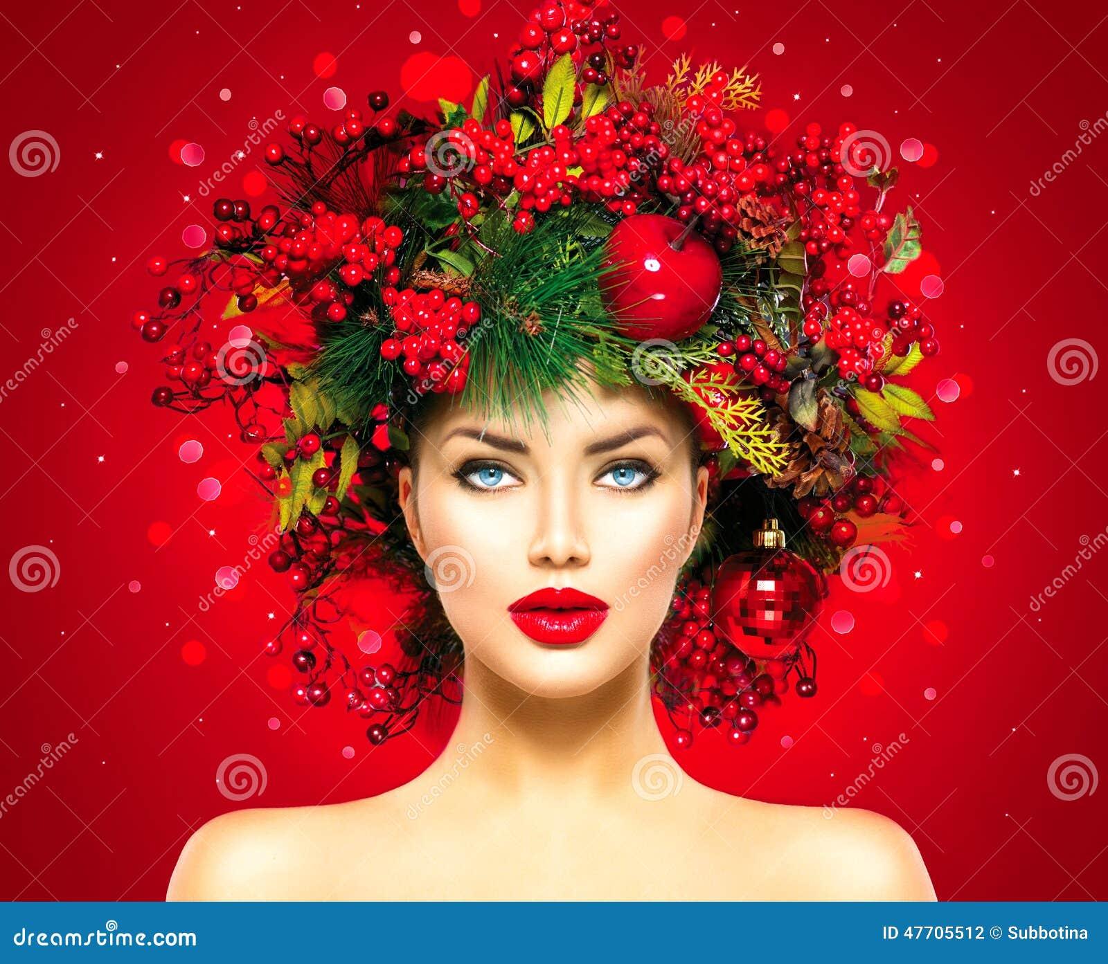 Mujer del modelo de moda de la Navidad