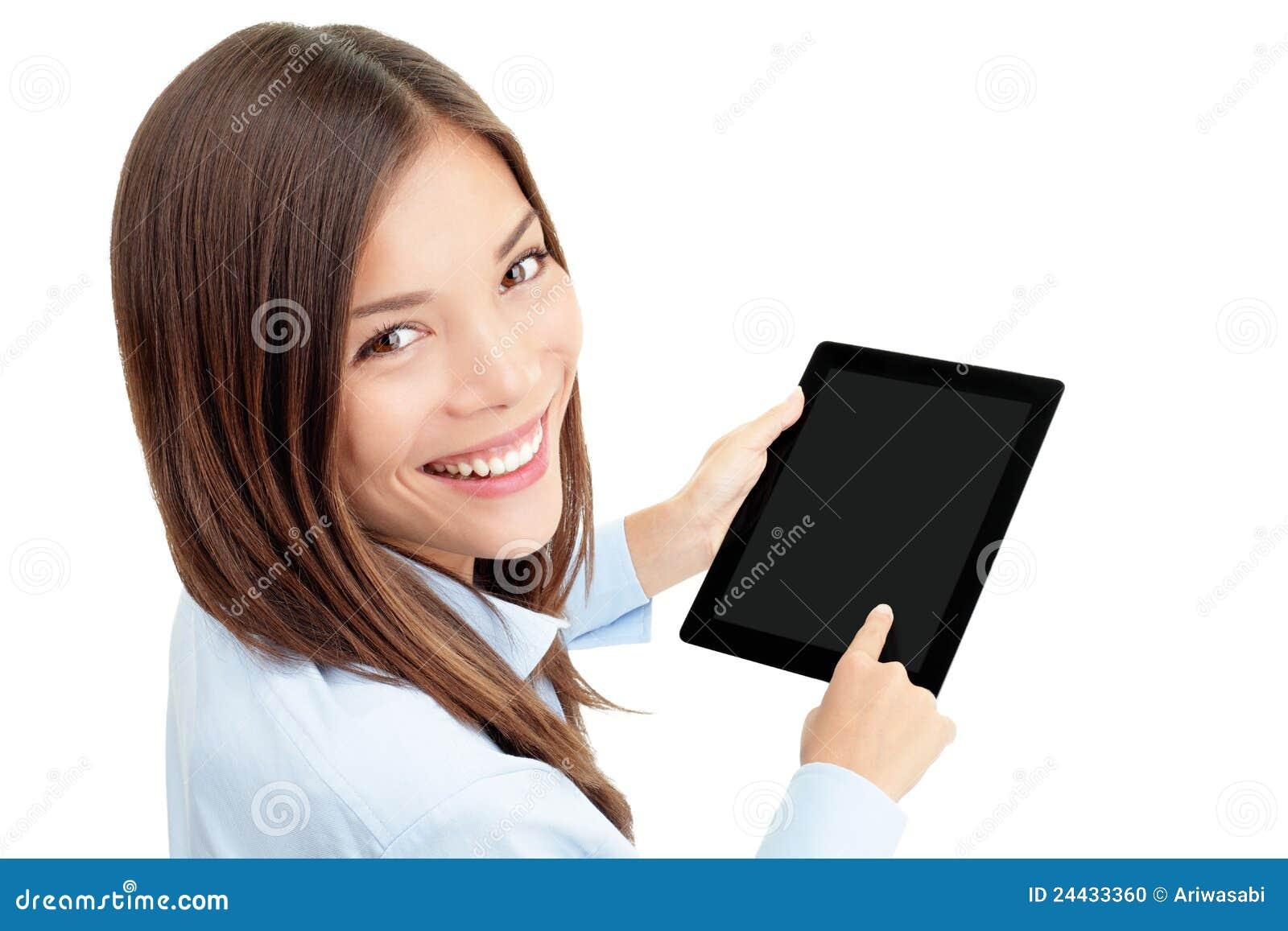 Mujer del ordenador de la tablilla