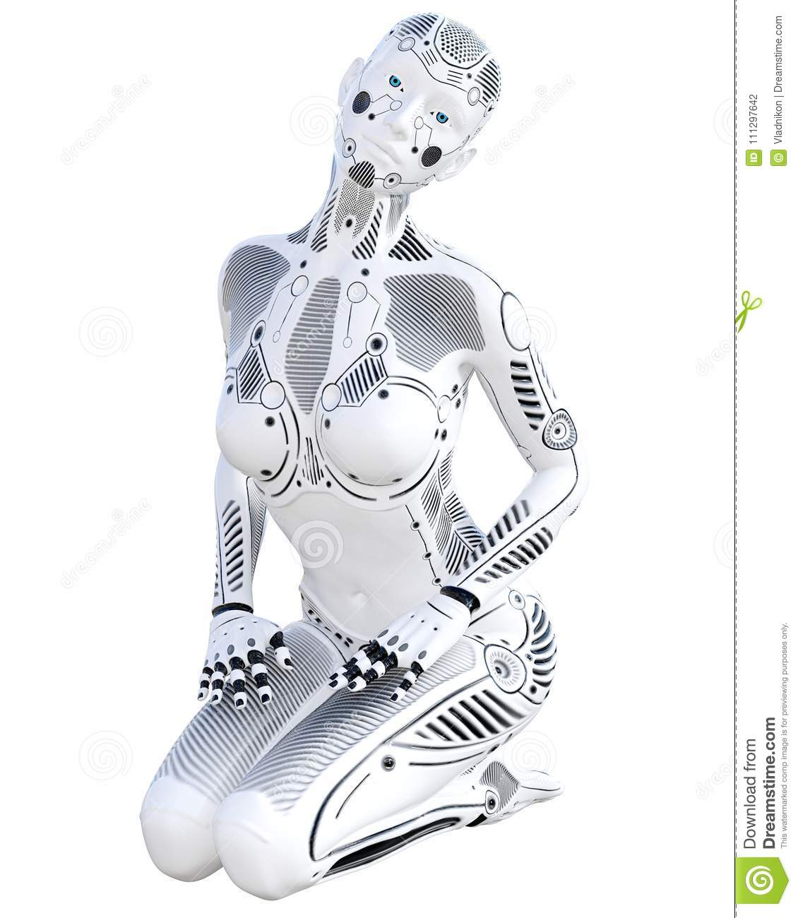 Mujer del robot Droid del metal blanco Inteligencia artificial