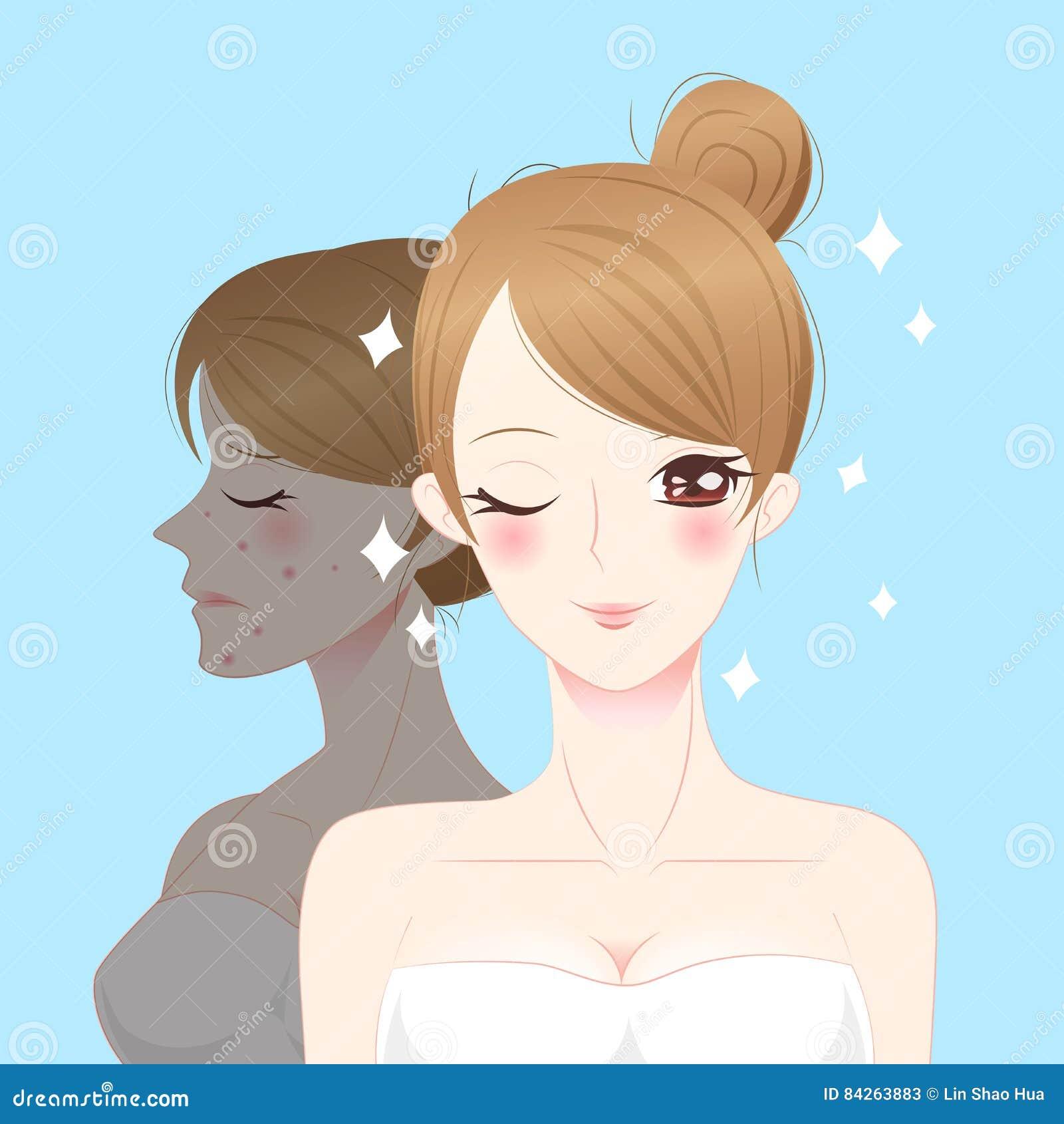 Mujer del skincare de la historieta de la belleza