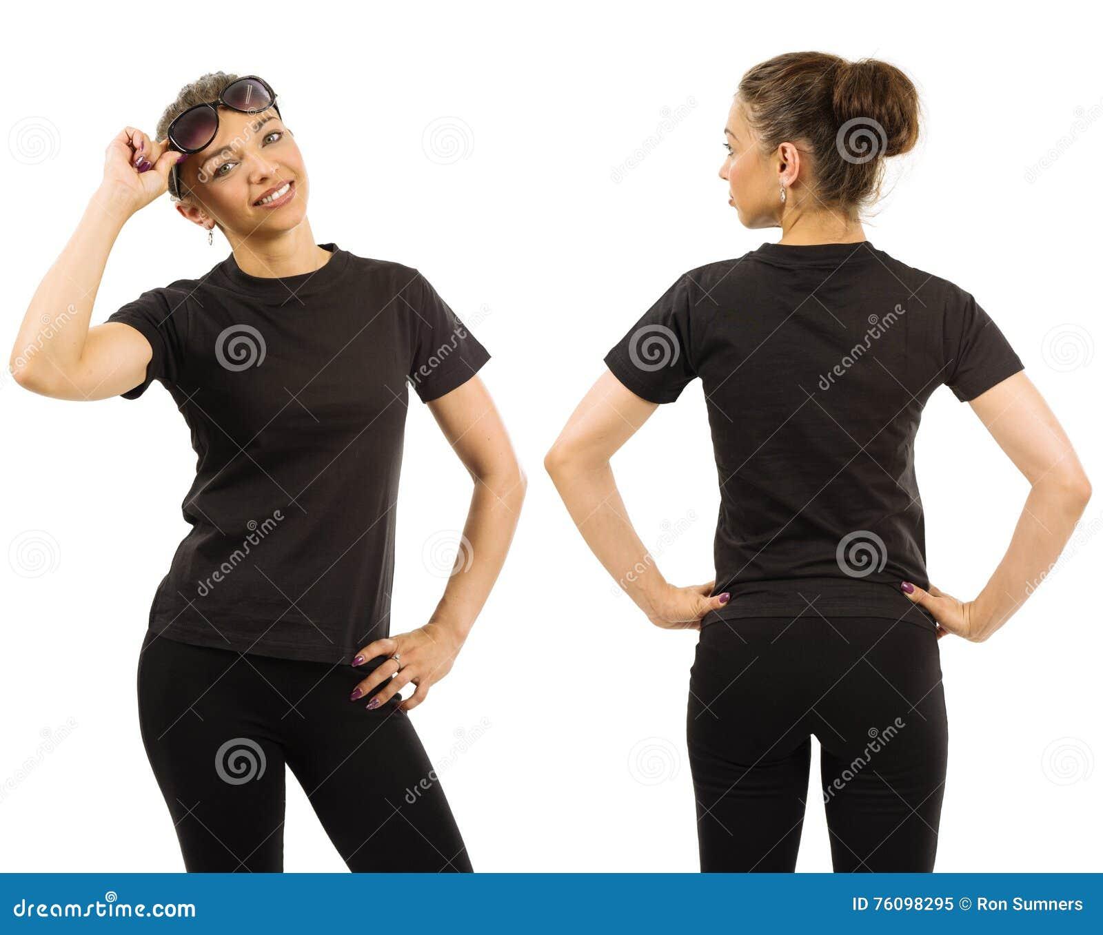 En La Archivo Que Delgada Negra Blanco De Camisa Lleva Mujer Imagen cwOxWvW