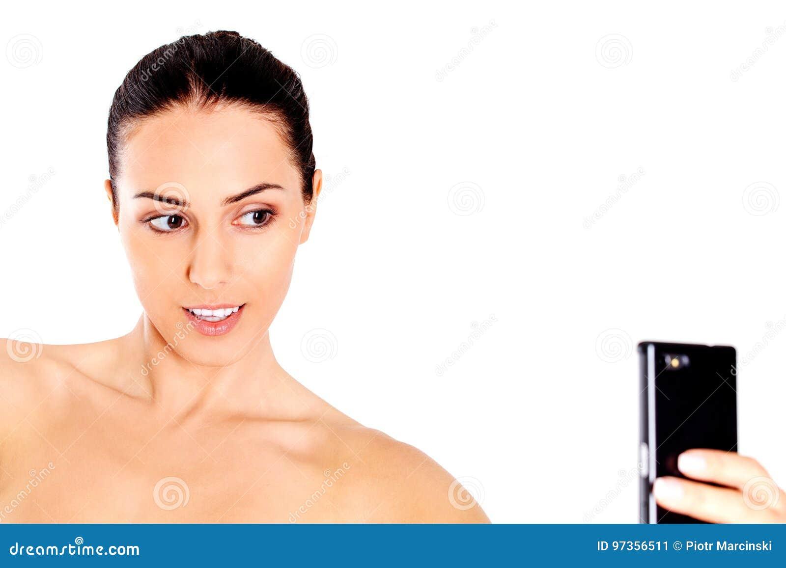 Mujer Desnuda Joven Que Toma El Selfie Imagen de archivo