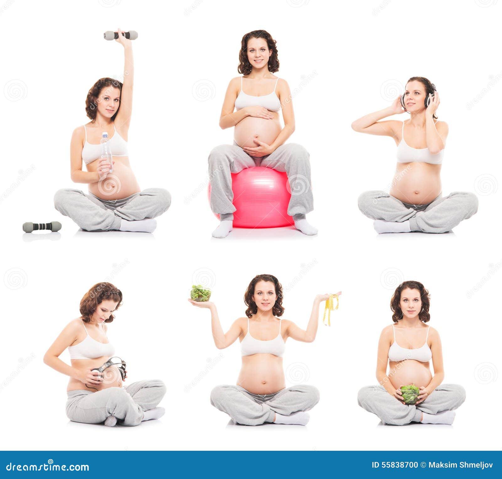 Mujer embarazada aislada en el blanco (colección) Concepto sano de la  consumición y de la nutrición. Imágenes stock más similares a42a9c88d697