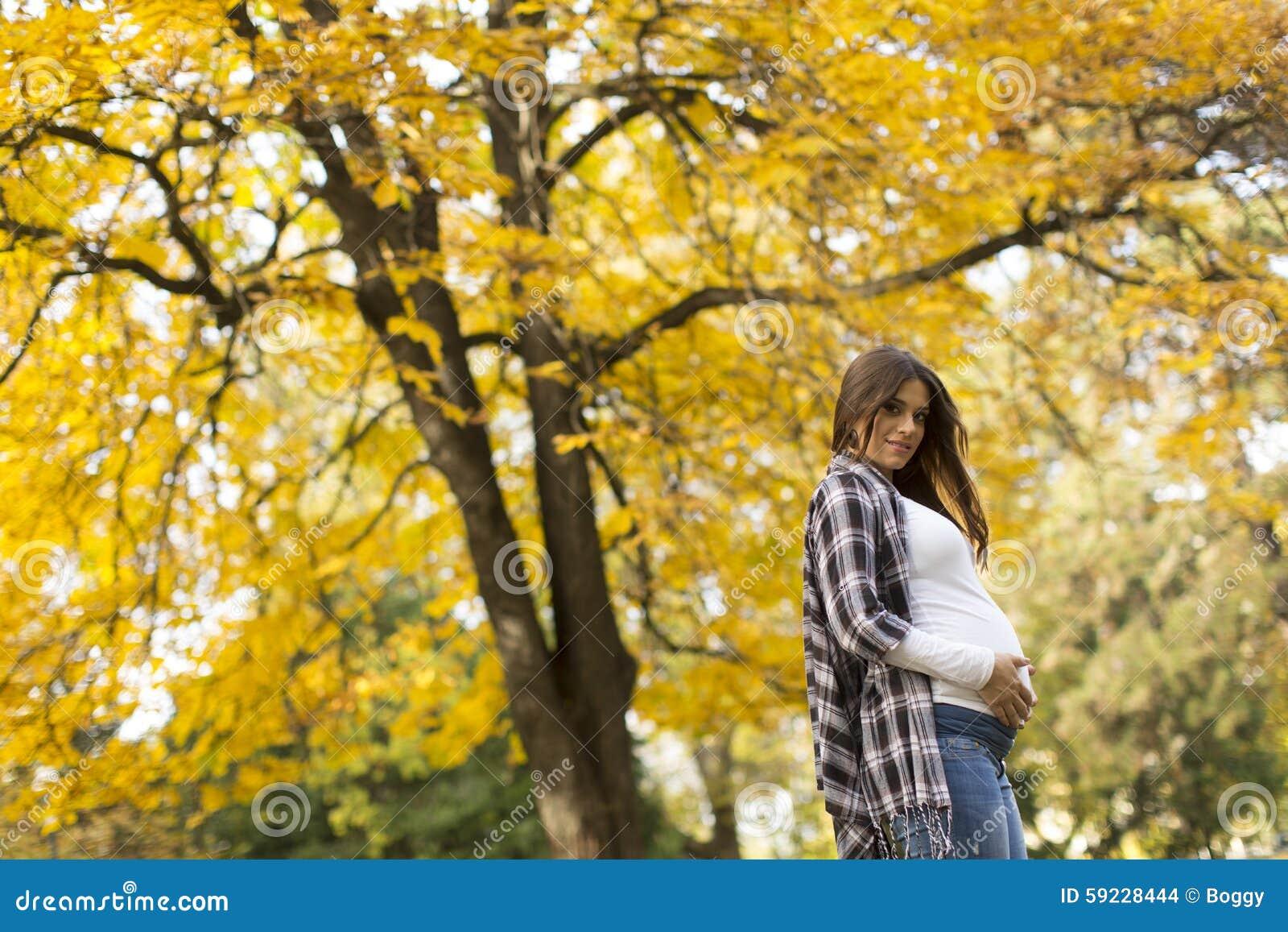 Download Mujer Embarazada En El Parque Del Otoño Foto de archivo - Imagen de pelo, humano: 59228444