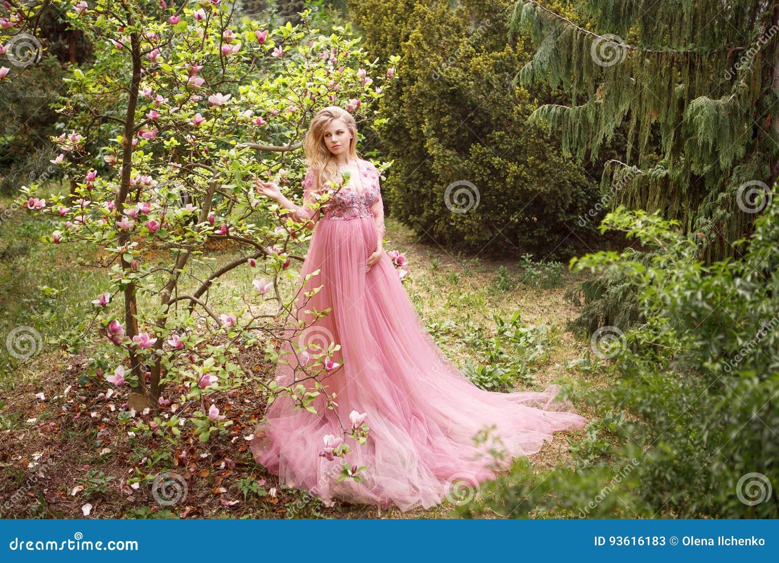 Rosado El Se Coloca En Que Vestido Largo Embarazada Mujer JlcF1K