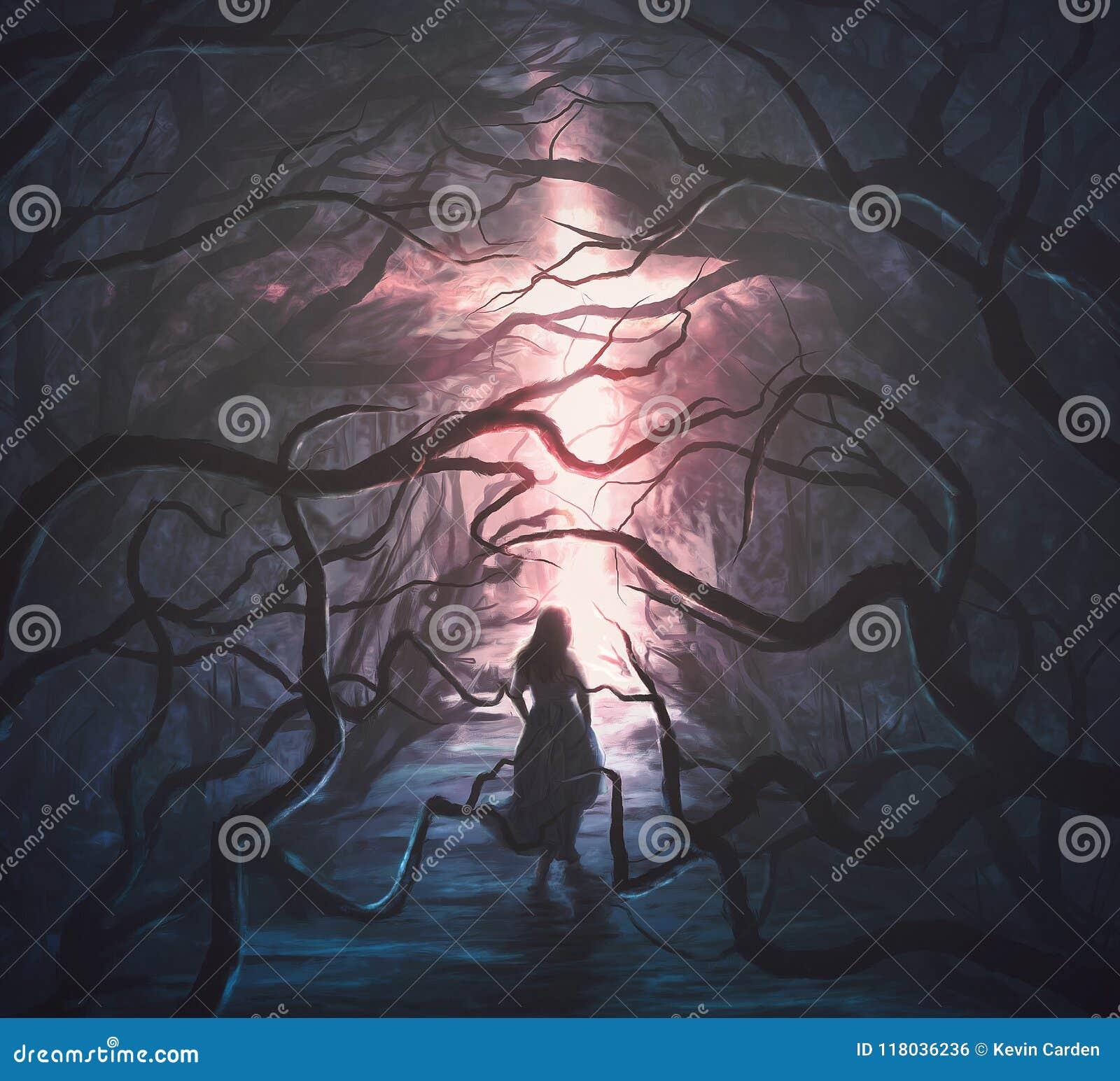 Mujer en bosque asustadizo