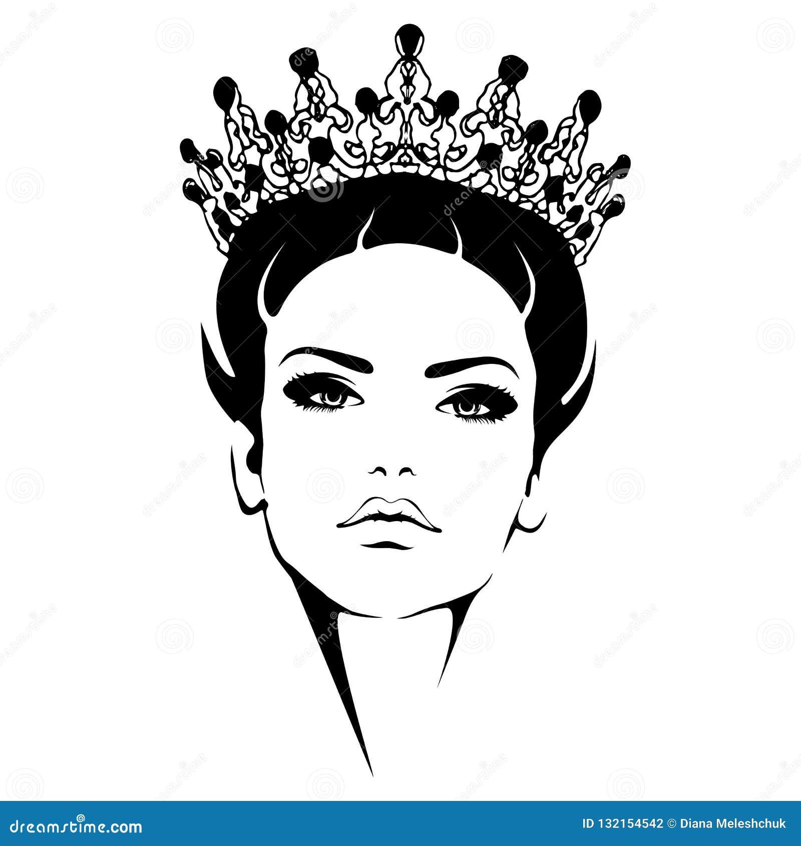 Mujer En Corona Silueta Blanco Y Negro De La Reina Ilustración Del