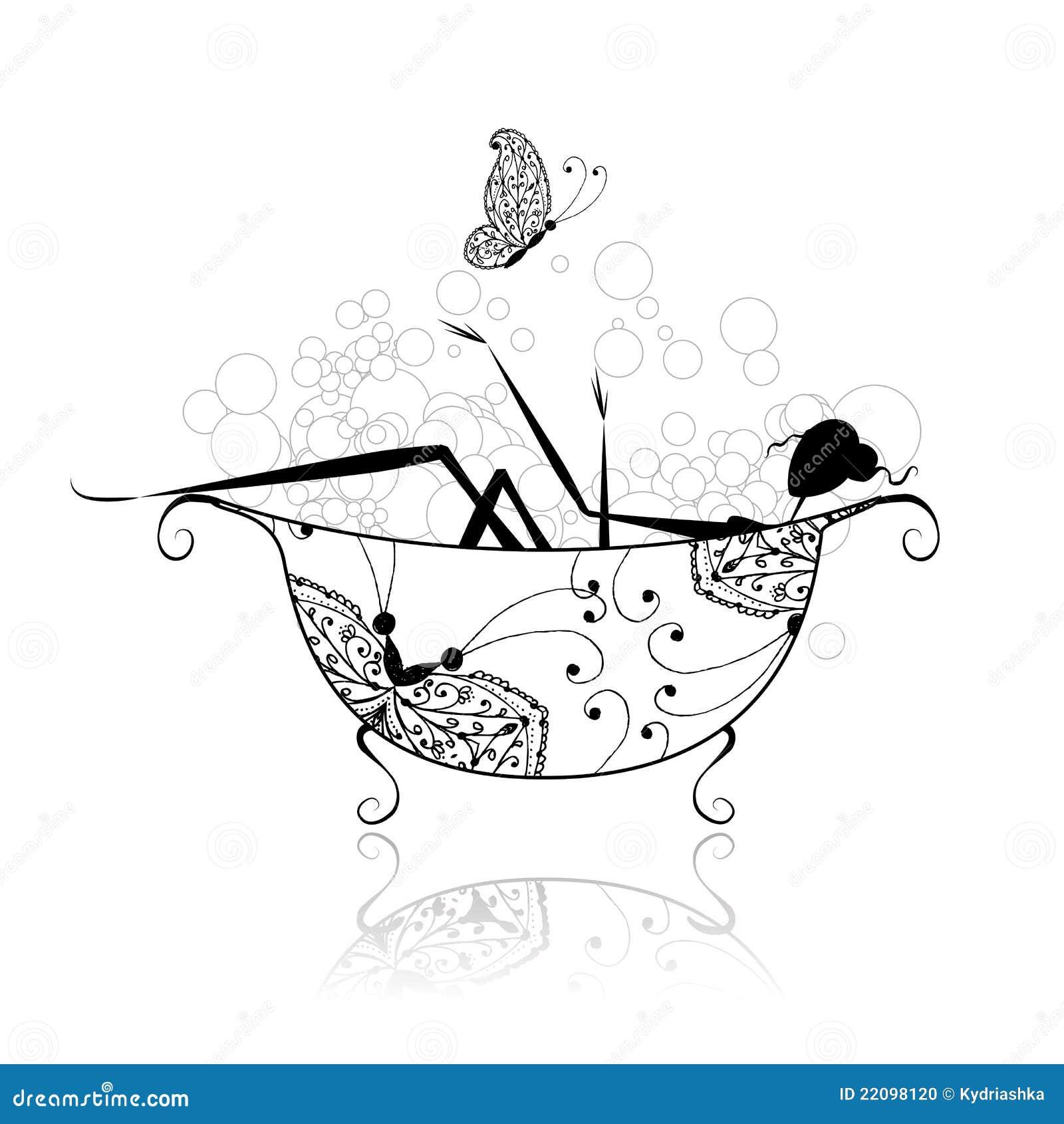 Imagenes De Baño Para Mujer:Mujer En Cuarto De Baño Con La Espuma Para Su Diseño Foto de archivo