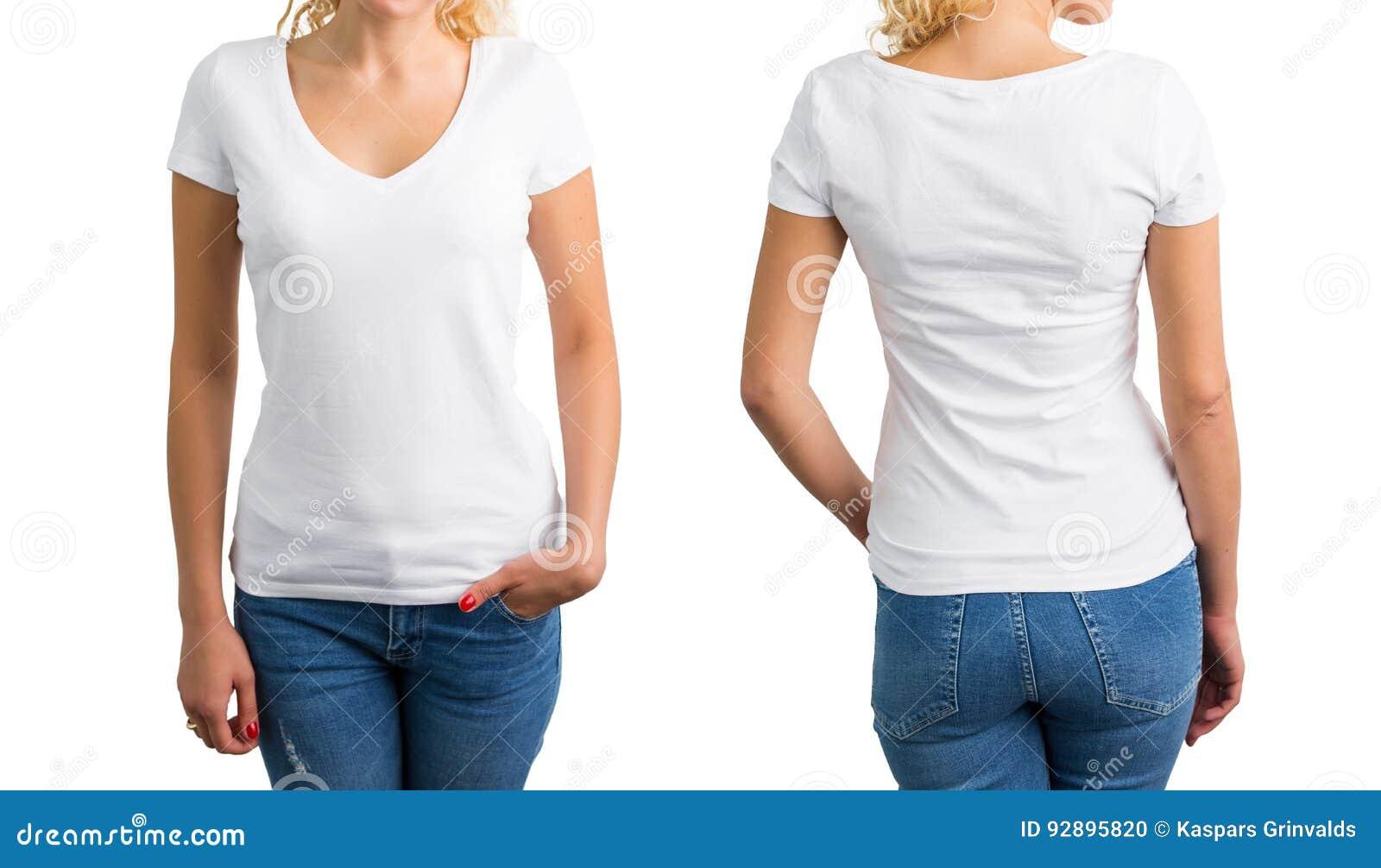 d19738842f36 Mujer En La Camiseta, El Frente Y La Parte Posterior Con Cuello De ...