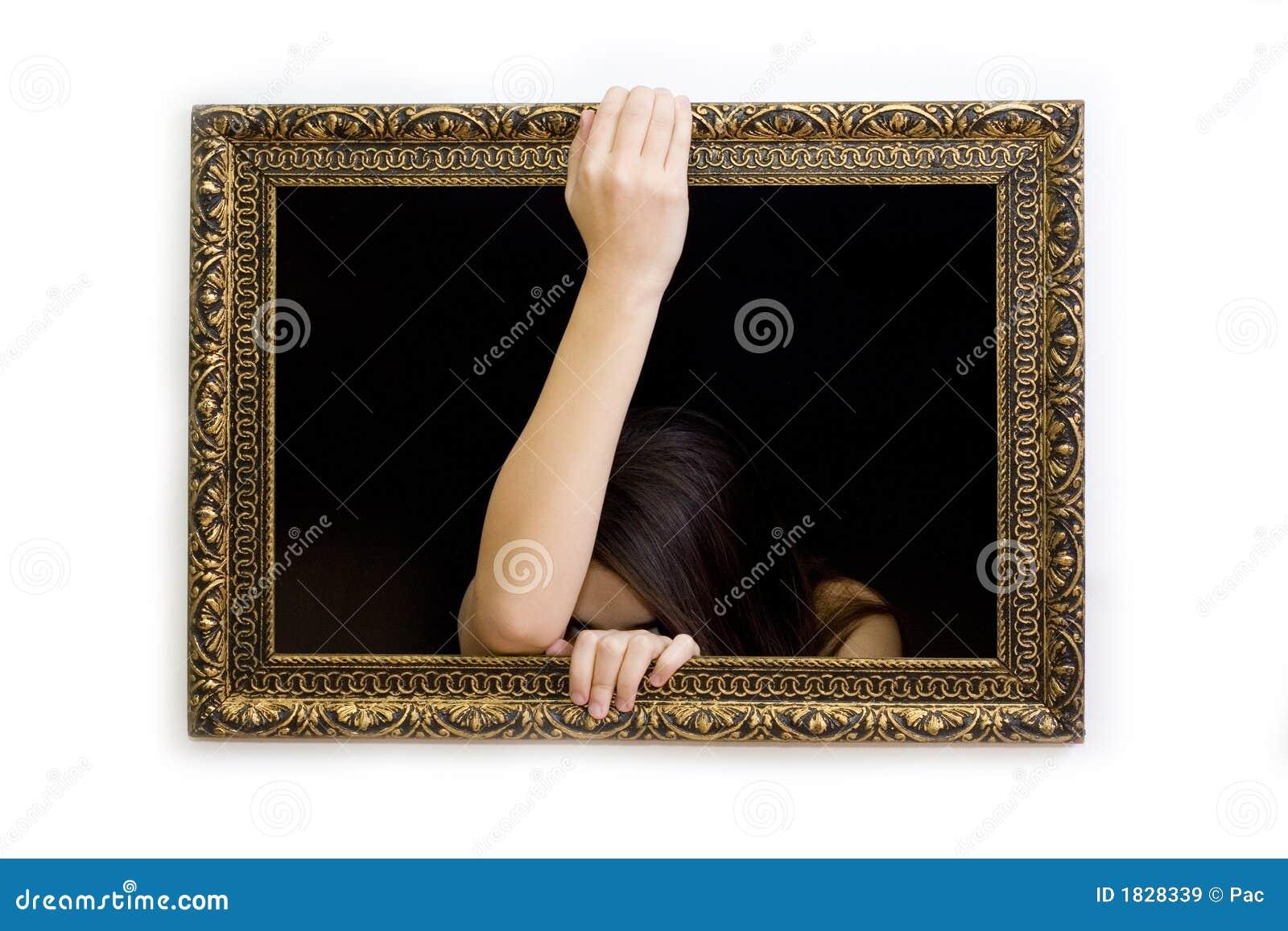 Mujer En Un Marco De La Pintura Imagen de archivo - Imagen de ...