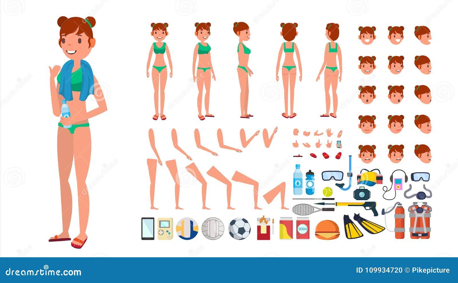 84b2eba5e Mujer en vector del traje de baño Carácter femenino animado en bikini de la  natación Sistema