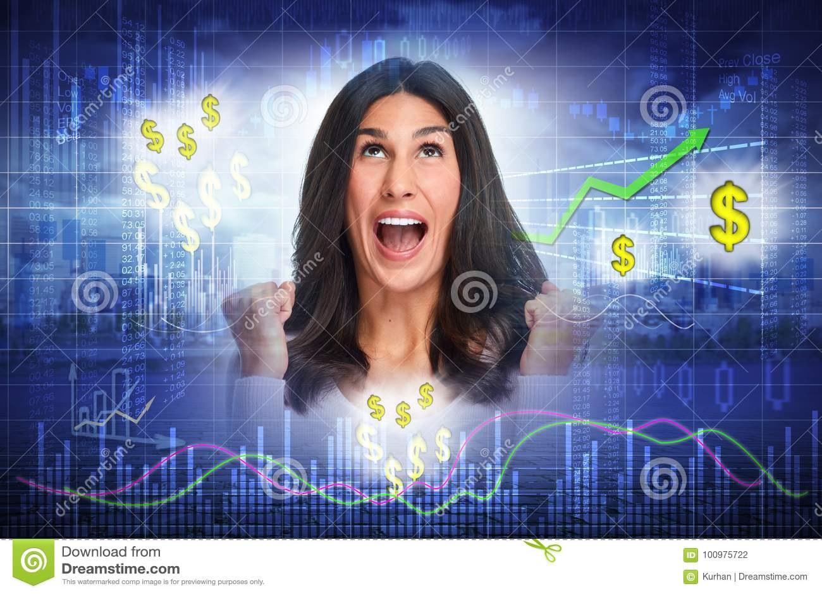 Mujer feliz del inversor