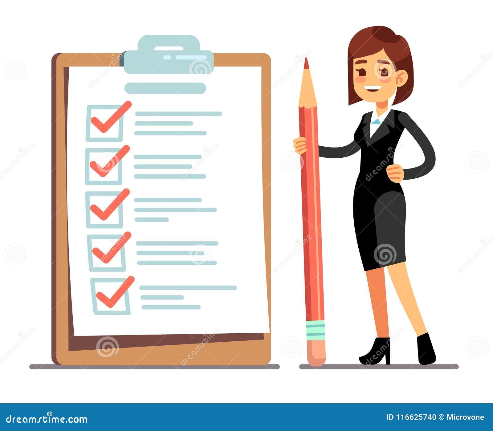 Mujer feliz que sostiene el lápiz en la lista de control gigante del horario con las marcas de la señal Organización de la empres