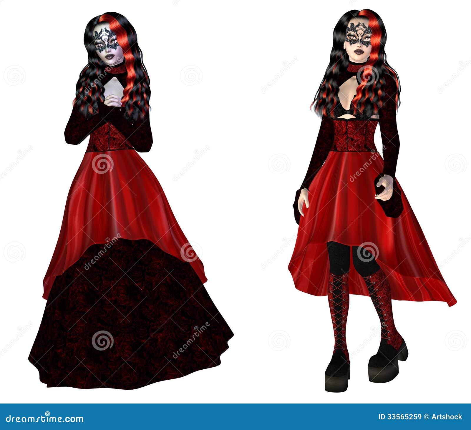 Mujer En Mujer Rojo Gótica Vestido Gótica Uw7O0qw