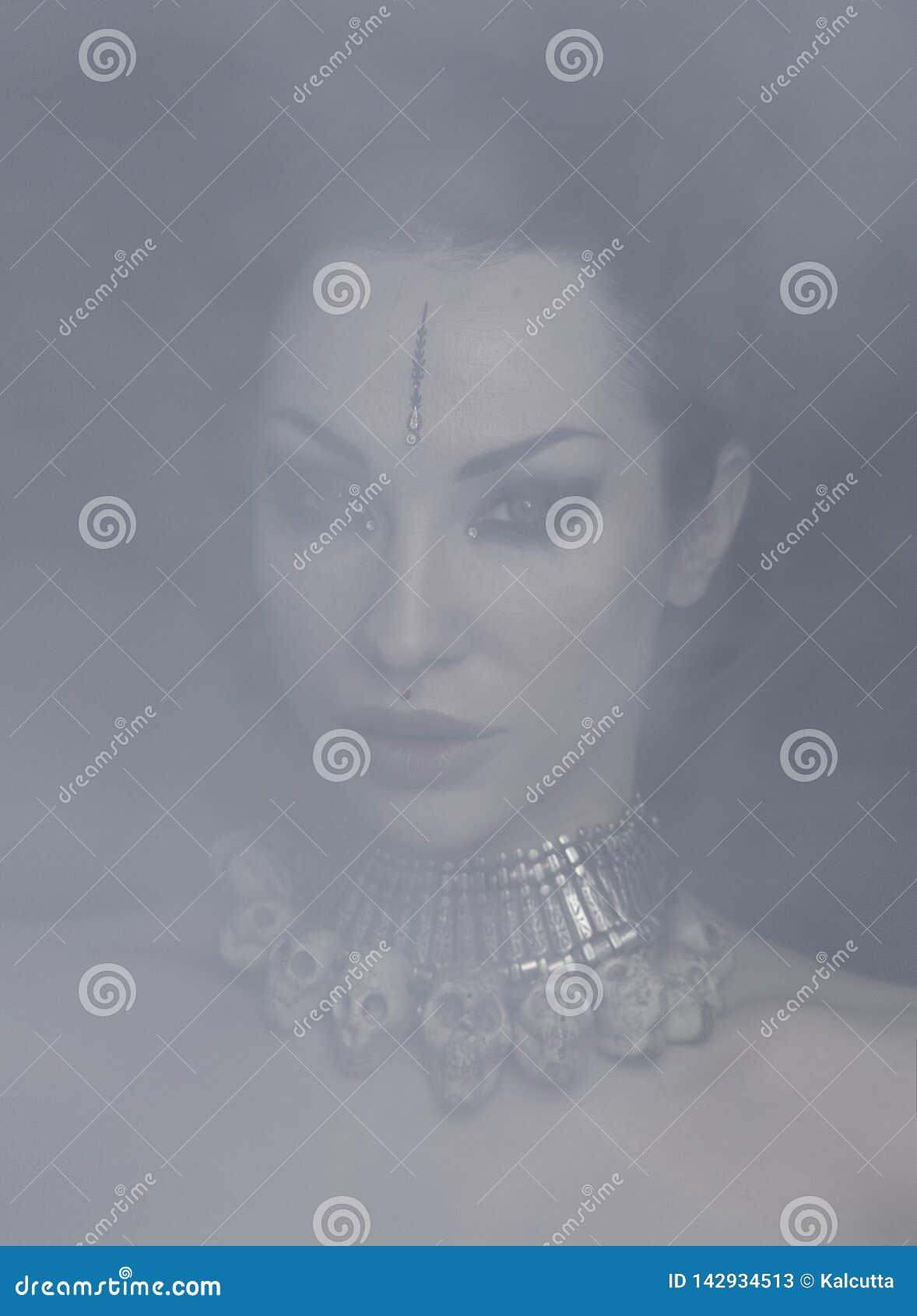 Mujer hermosa Bellydancer con maquillaje del este y la joyería oriental indios, árabe, africano, egipcio