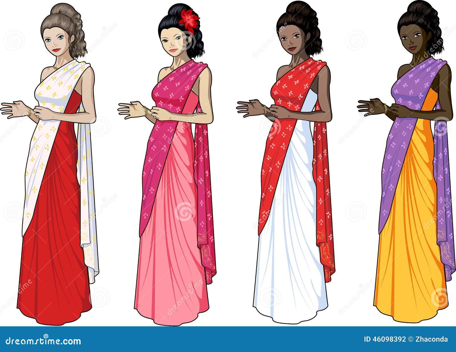 Mujer Hermosa En Sari India Del Vestido Ilustración del Vector ...