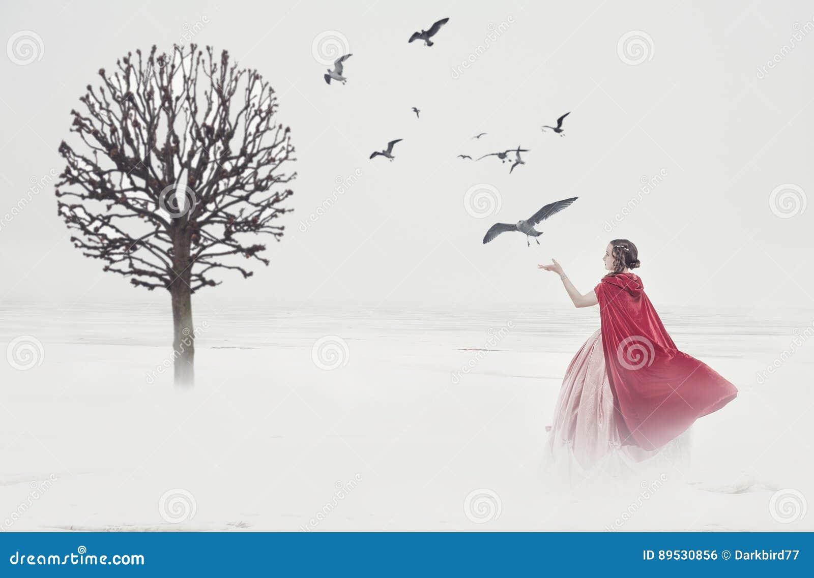 Mujer hermosa en vestido medieval con los pájaros en campo de niebla