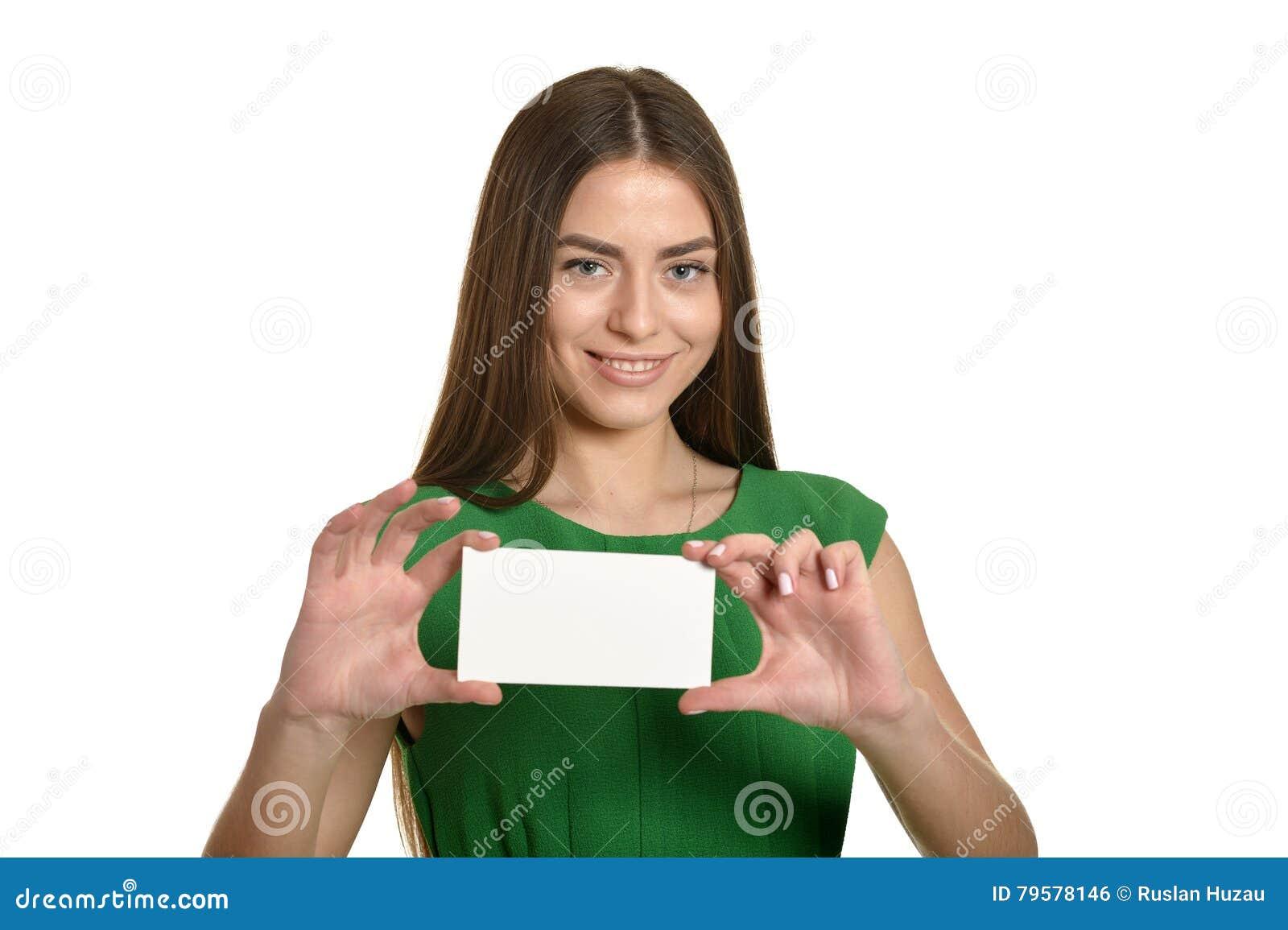 Mujer Hermosa En Vestido Verde Con La Bandera Blanca Foto De