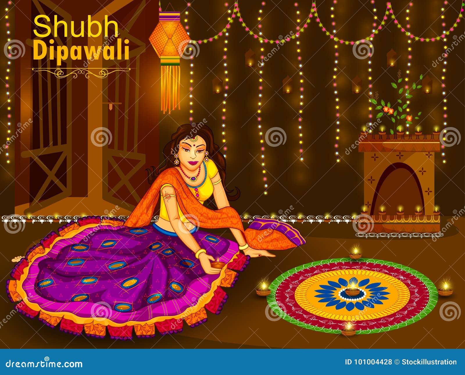 Mujer india que celebra el festival de Diwali de la India