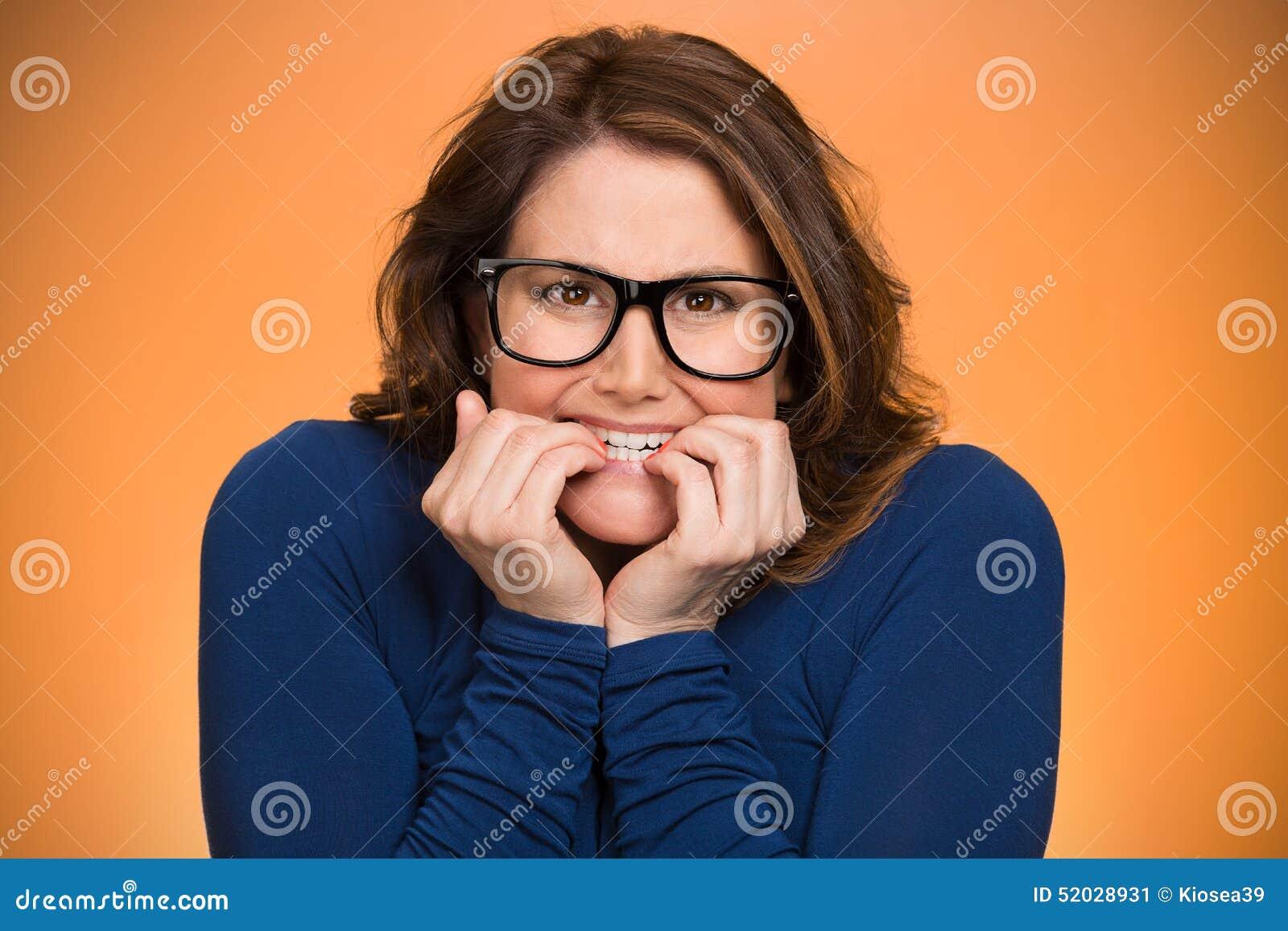 Mujer insegura ansiosa imagen de archivo. Imagen de loco - 52028931
