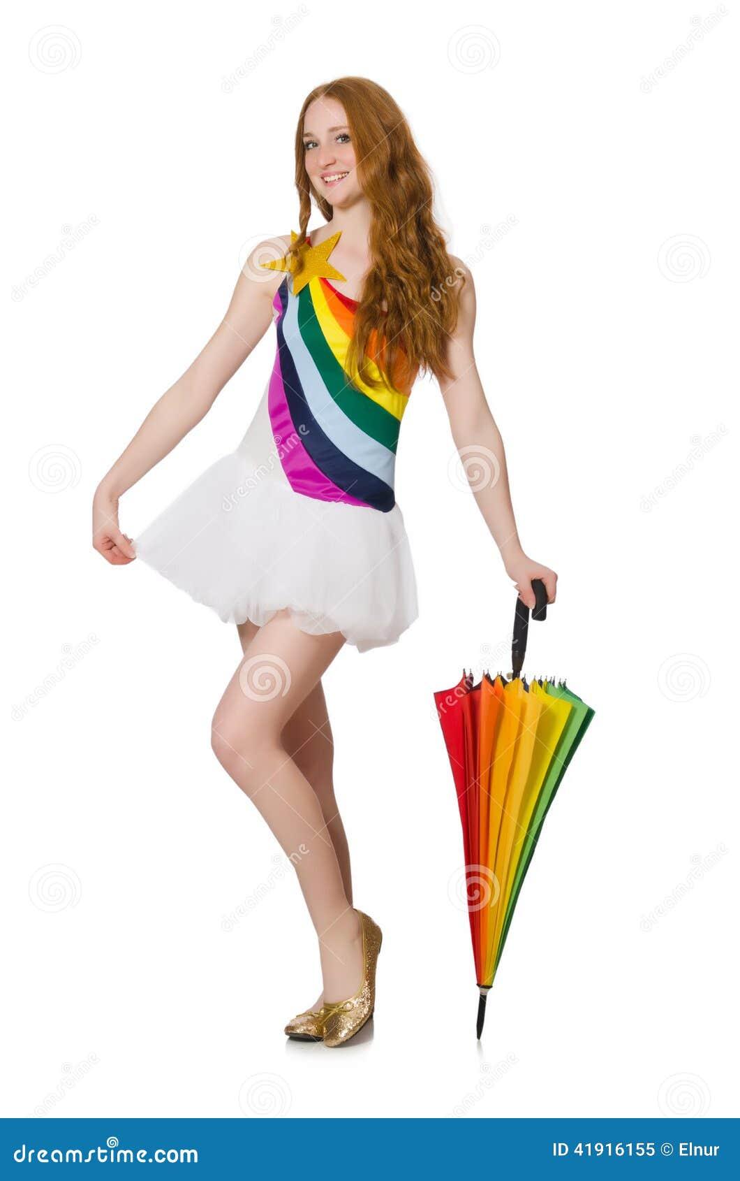 Mujer joven con el paraguas