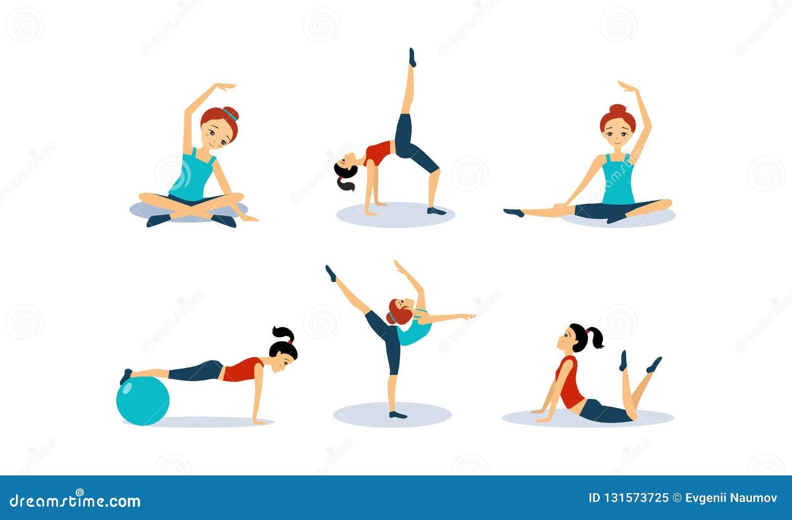 Mujer joven delgada que hace el entrenamiento de la aptitud, ejemplo sano activo del vector del concepto de la forma de vida en u