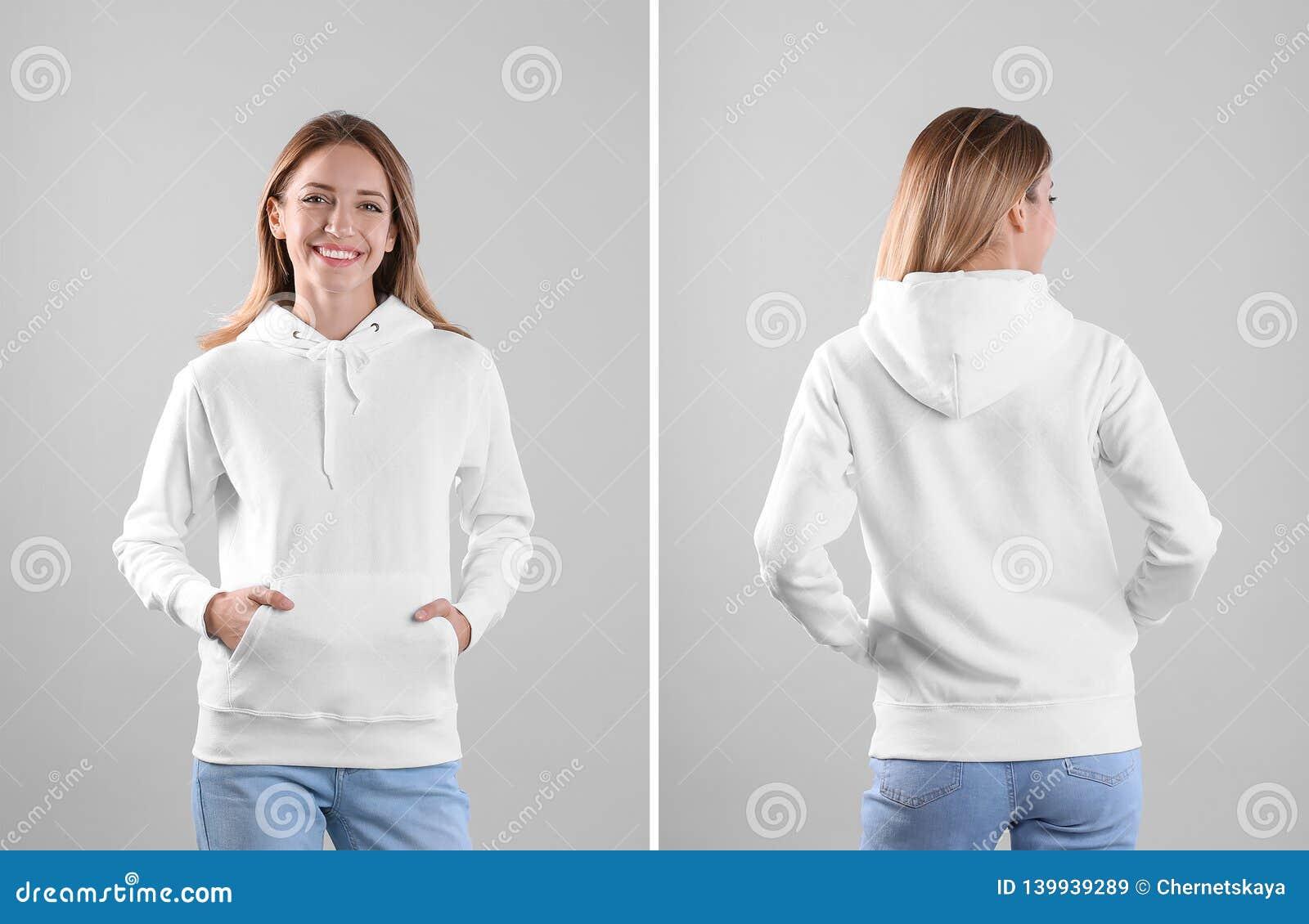 Mujer joven en suéter en blanco de la sudadera con capucha en opiniones ligeras del fondo, delanteras y traseras
