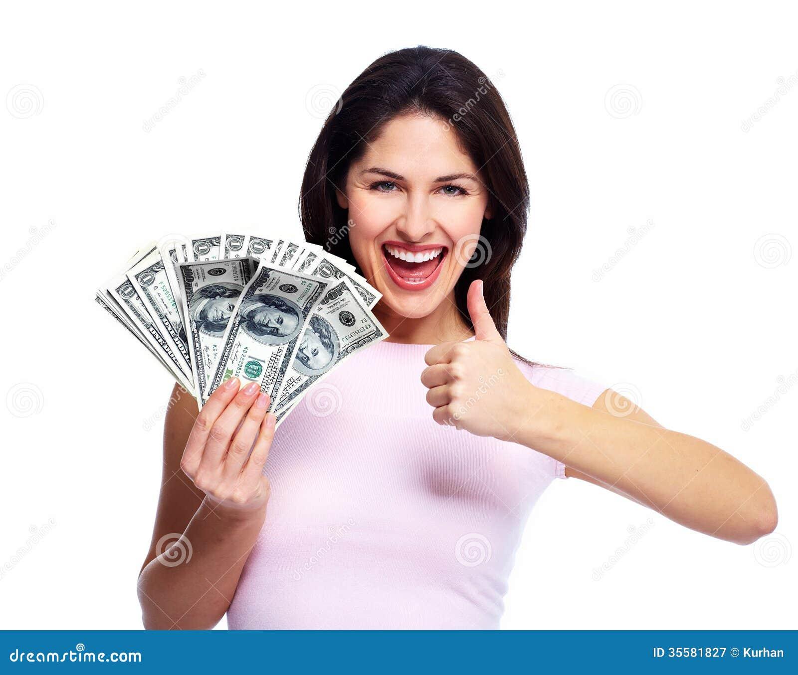 Mujer joven feliz con el dinero.