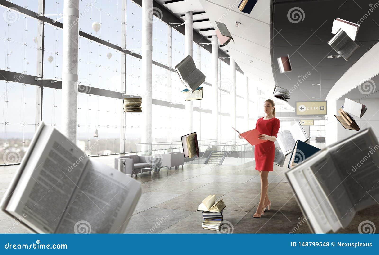 Mujer joven que lee un libro T?cnicas mixtas