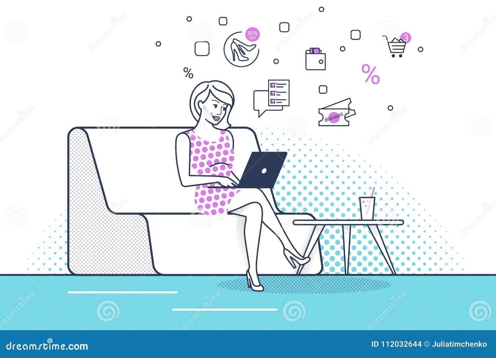 Mujer joven que se sienta en el sofá en casa que trabaja con el ordenador portátil y que utiliza nuevo servicio del comercio elec
