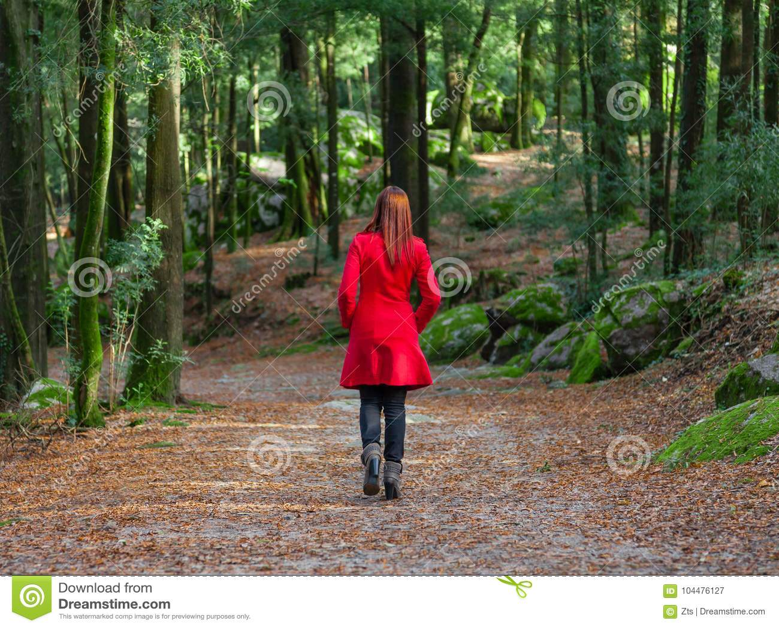 Mujer joven que se va solamente en la trayectoria de bosque que lleva la capa larga roja