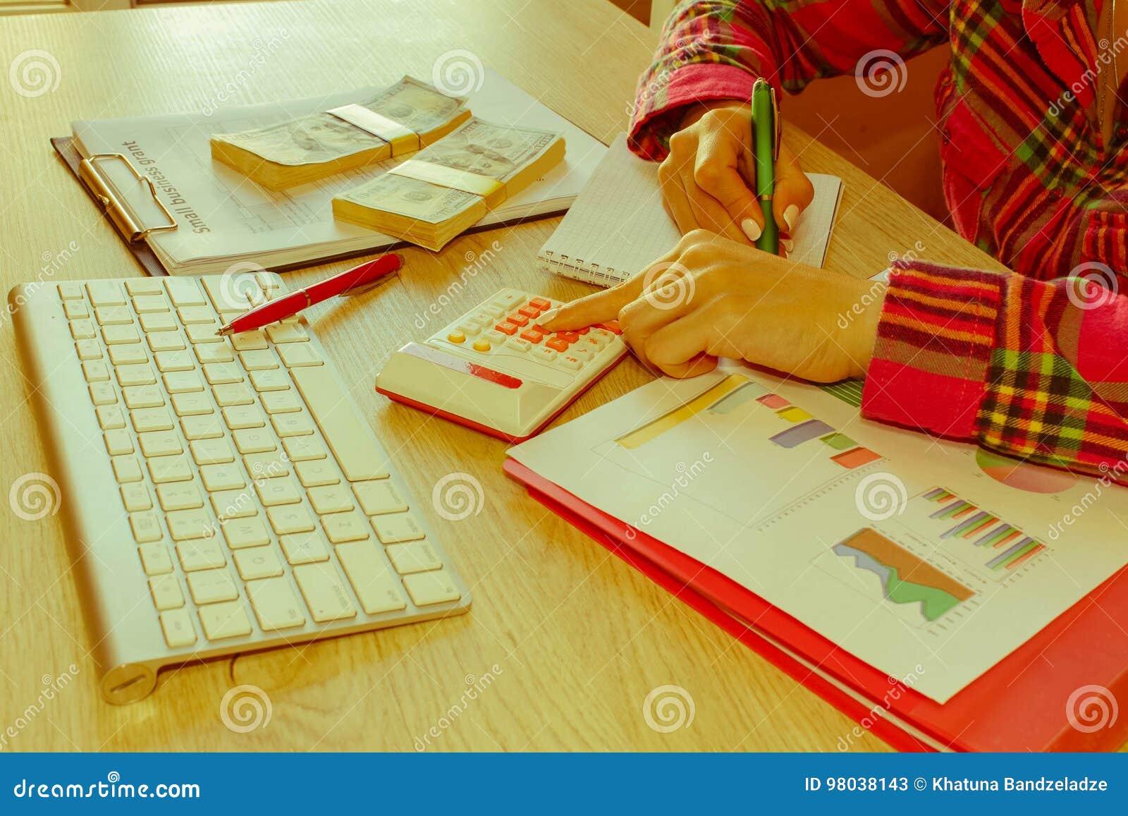 Mujer joven que trabaja en el hogar, sentándose en el escritorio, usando el ordenador Concesión del negocio y concepto de las fin