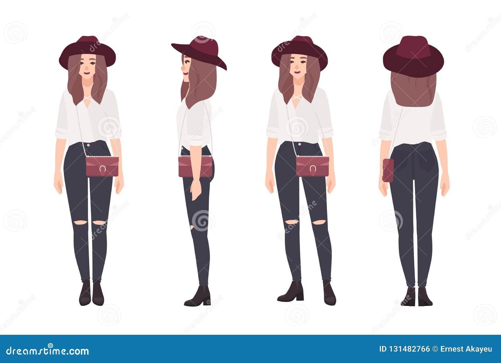 2a22adaef Mujer joven vestida en ropa de moda Muchacha sonriente elegante Personaje  de dibujos animados femenino aislado