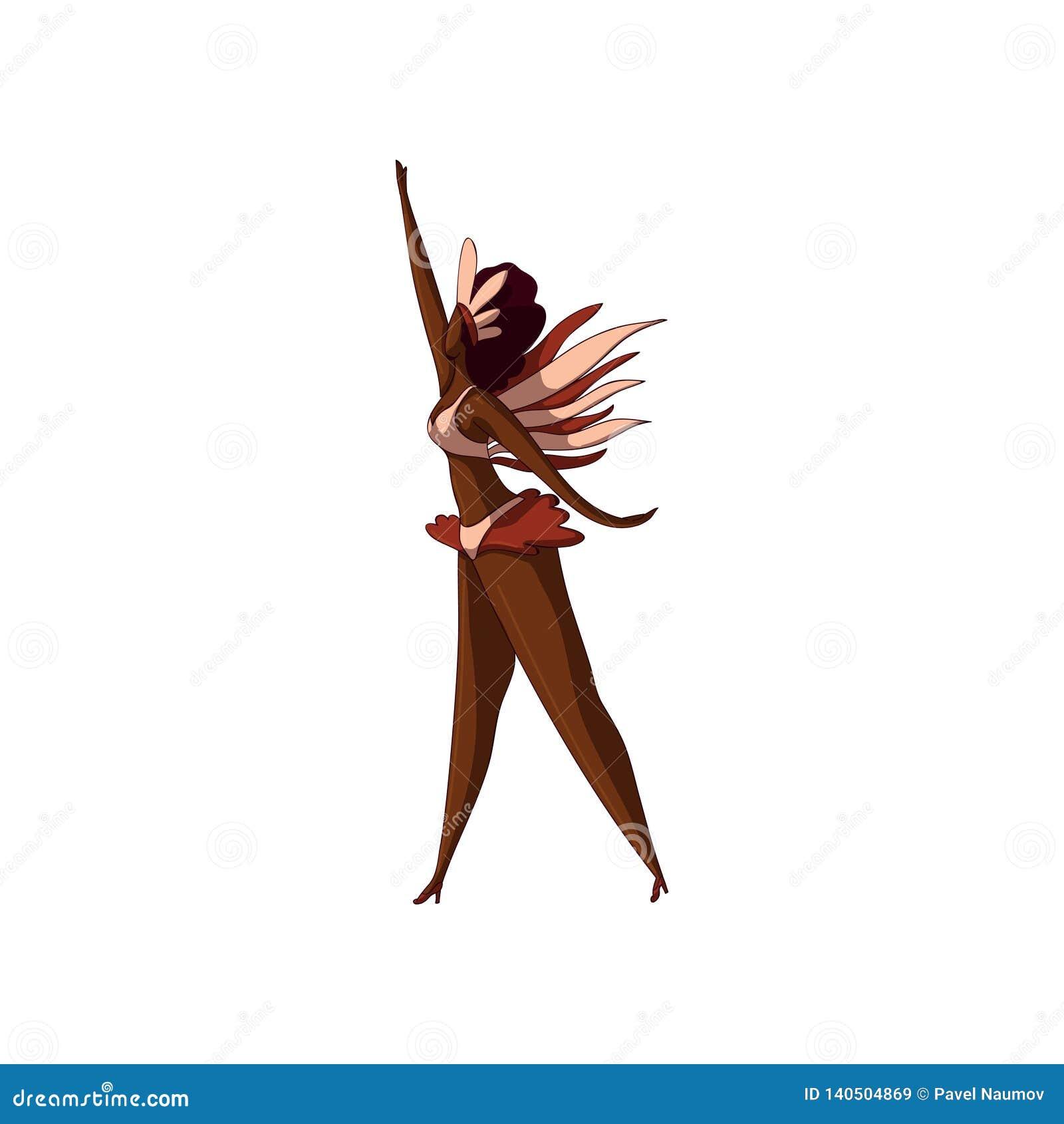 Mujer Latino en la acción de baile Muchacha en bikini con las plumas Bailarín brasileño de la samba Carnaval 2008 de Río Diseño d