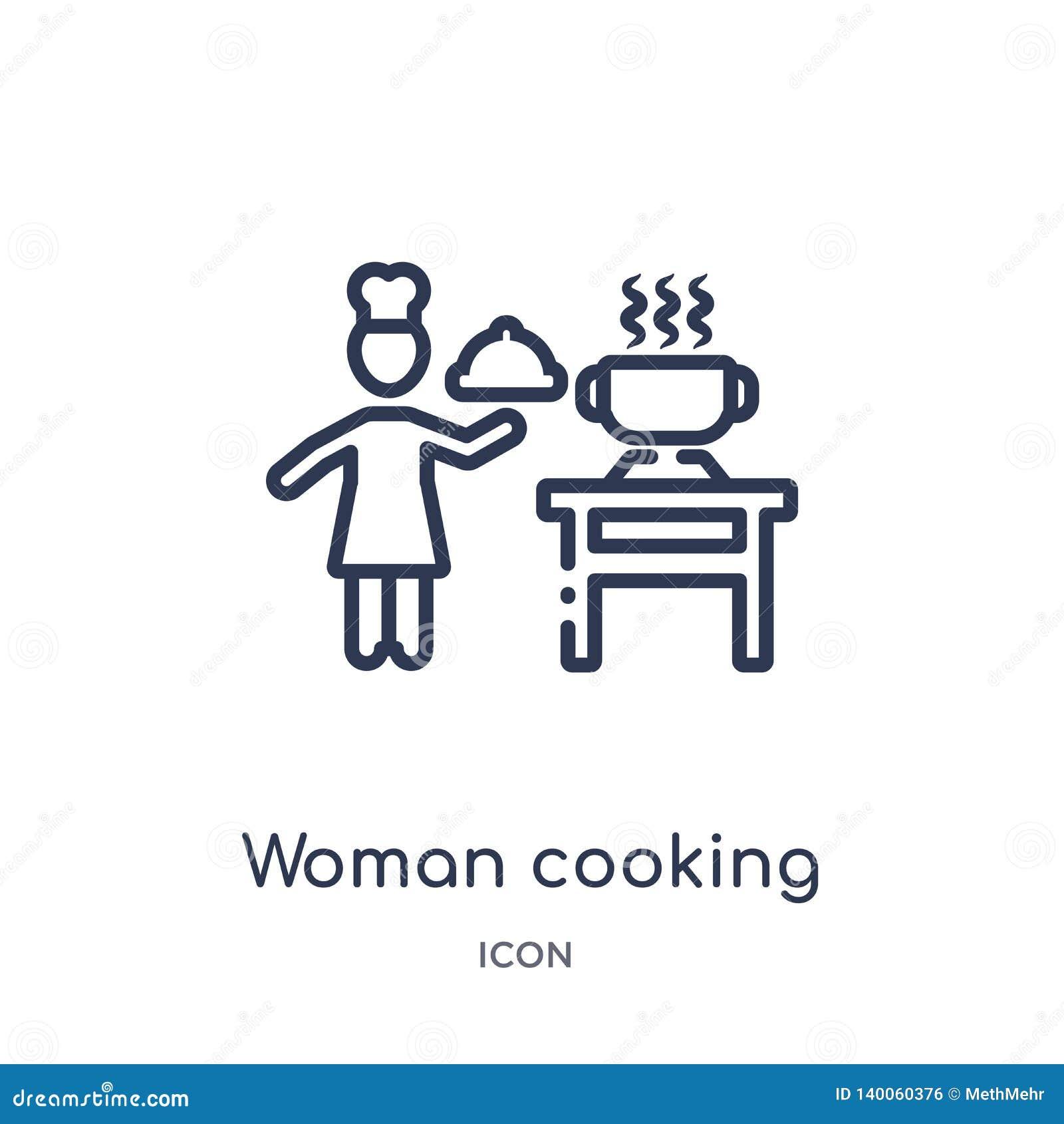 Mujer linear que cocina el icono de la colección del esquema de los seres humanos Línea fina mujer que cocina el icono aislado en