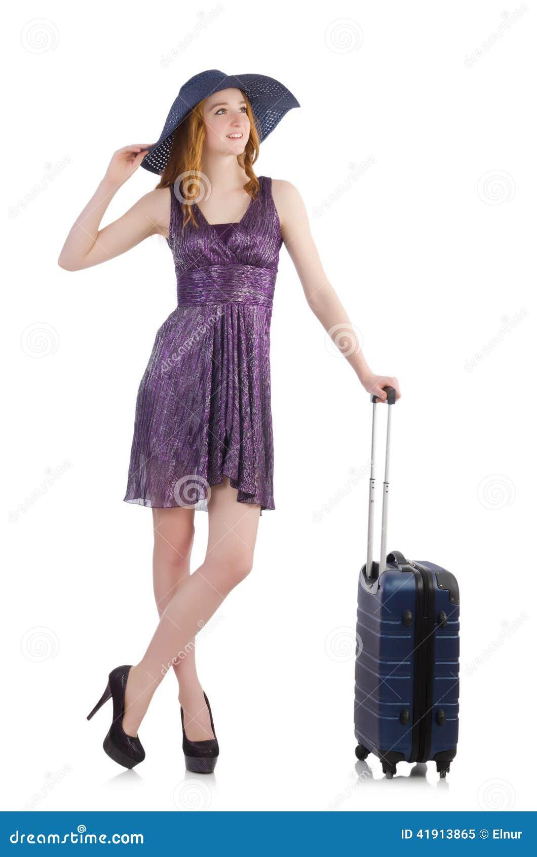 Mujer lista para las vacaciones de verano aisladas