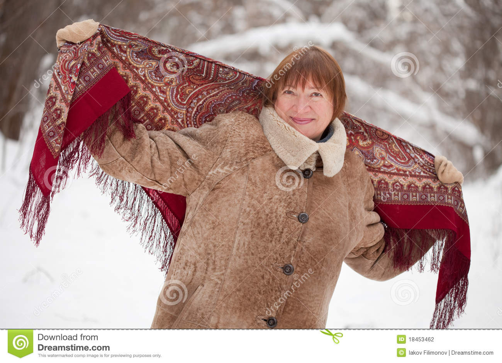 Mujer madura con babushka