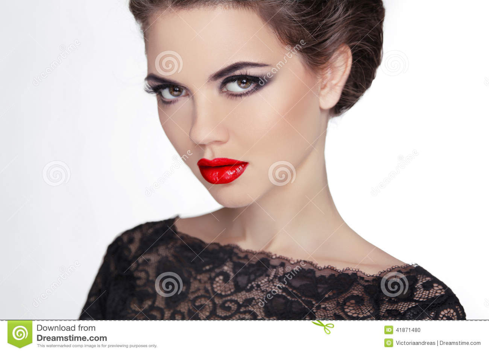 Mujer maquillaje stare Señora misteriosa del estilo del vintage Femal retro