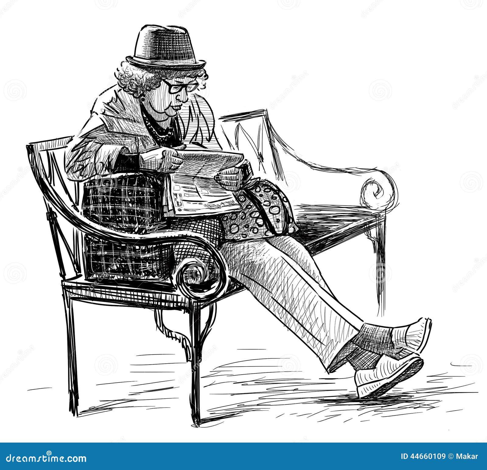 Mujer mayor en el banco de parque