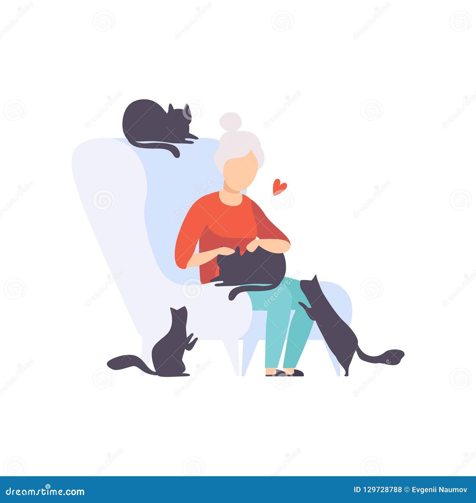 Mujer mayor que se sienta en la butaca rodeada por los gatos negros, los animales domésticos adorables y su ejemplo del vector de