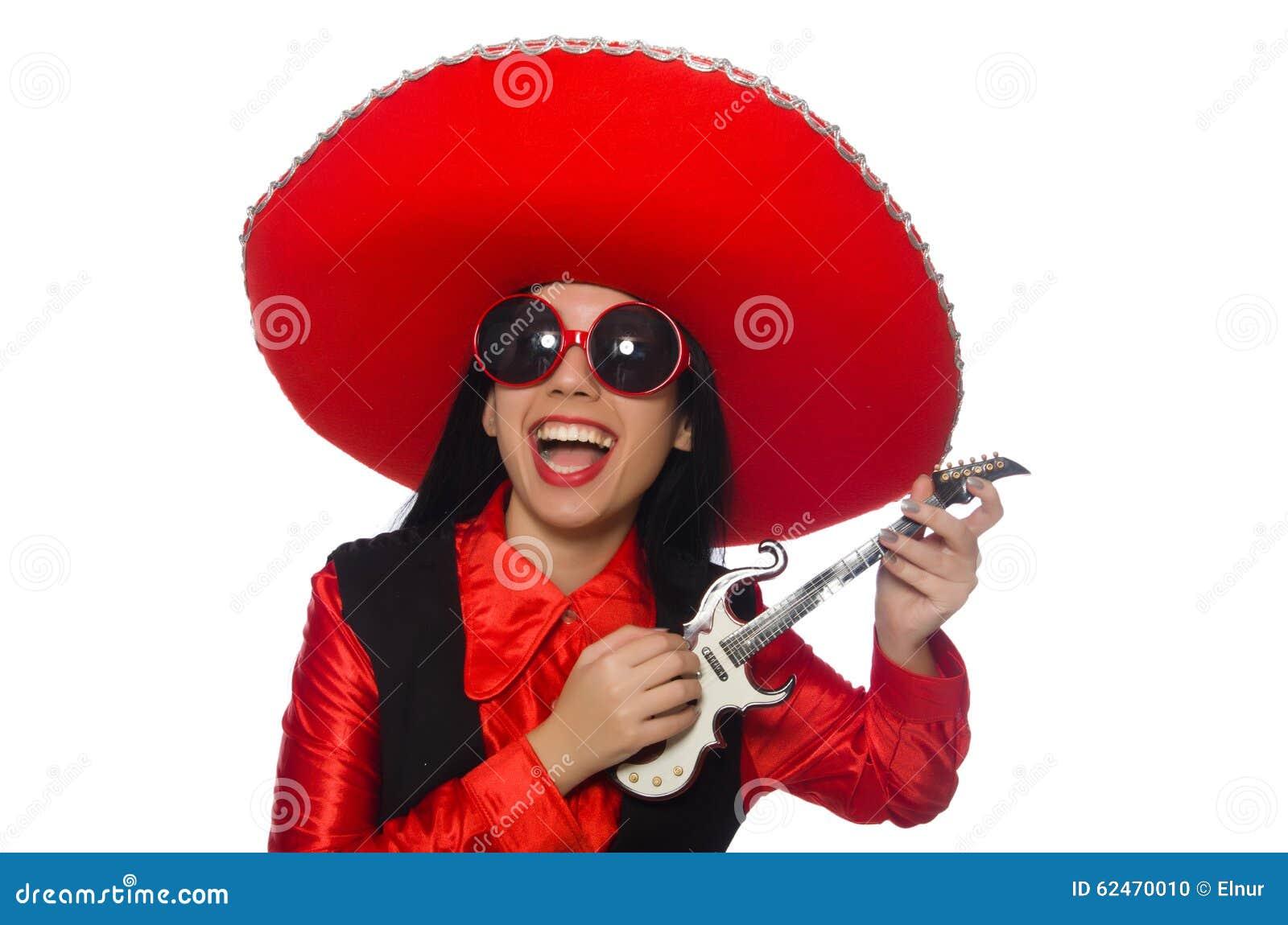 Mujer mexicana en concepto divertido en blanco
