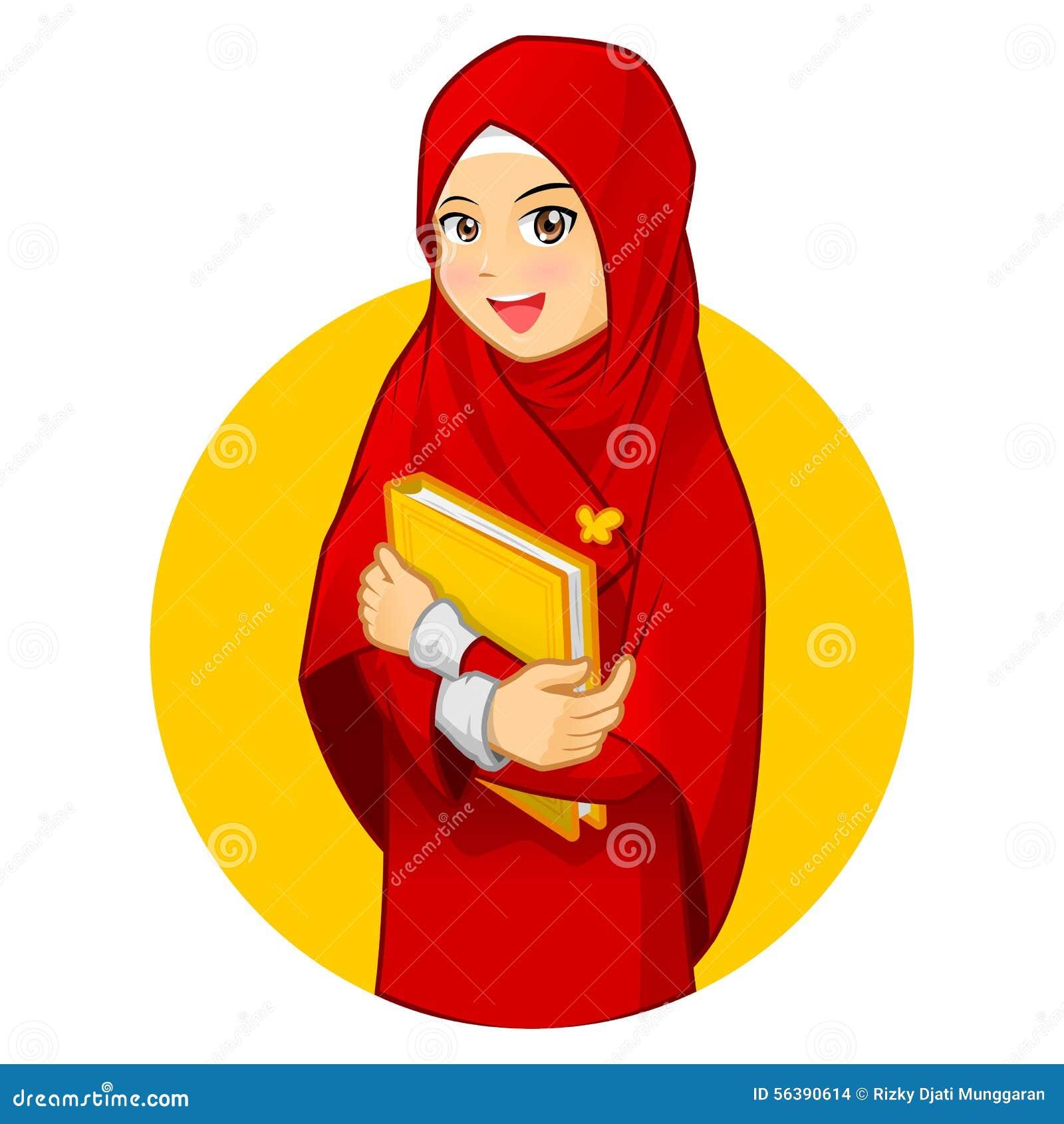 Mujer musulmán con el abrazo de un libro que lleva velo rojo