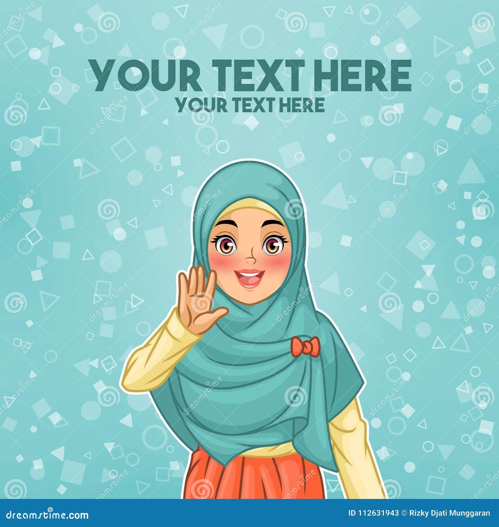 Mujer musulmán que agita con su palma